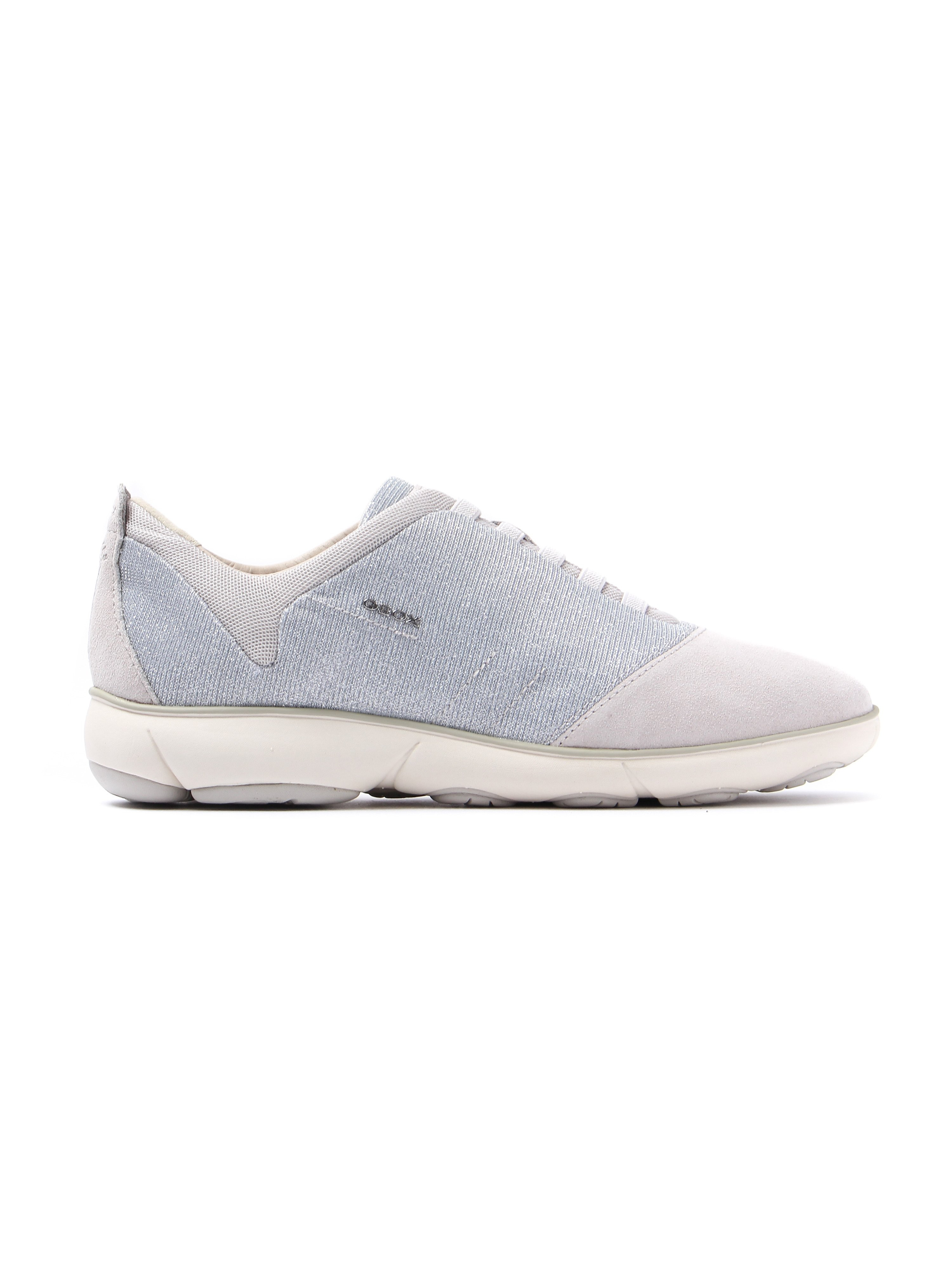 Geox Women's Nebula Glitter & Suede Trainers - Silver & Off White