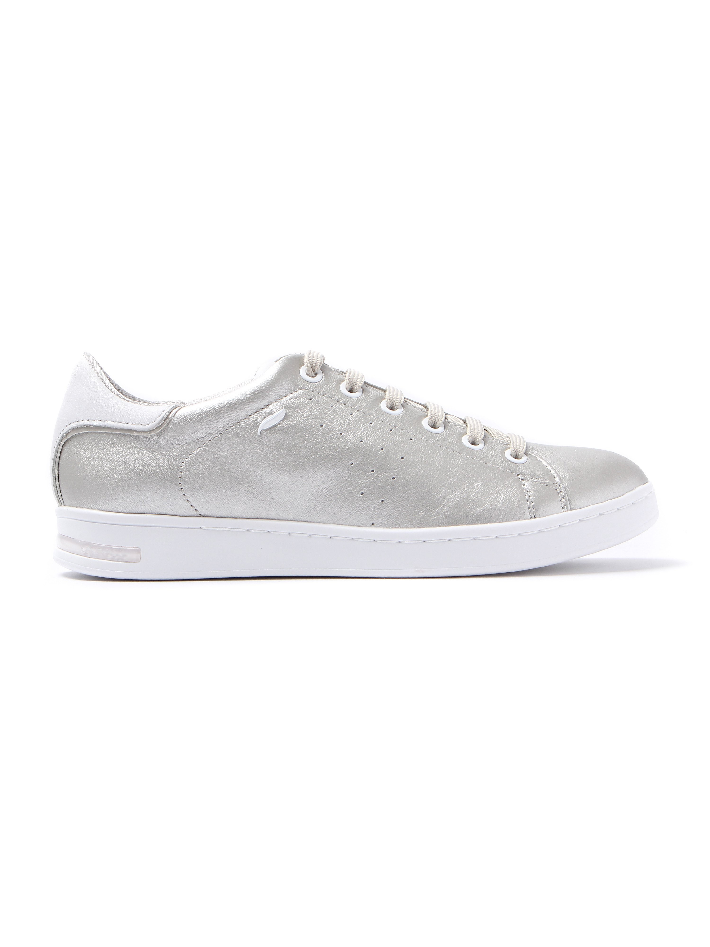 Geox Women's Jaysen Metallic Leather Trainers - Platinum