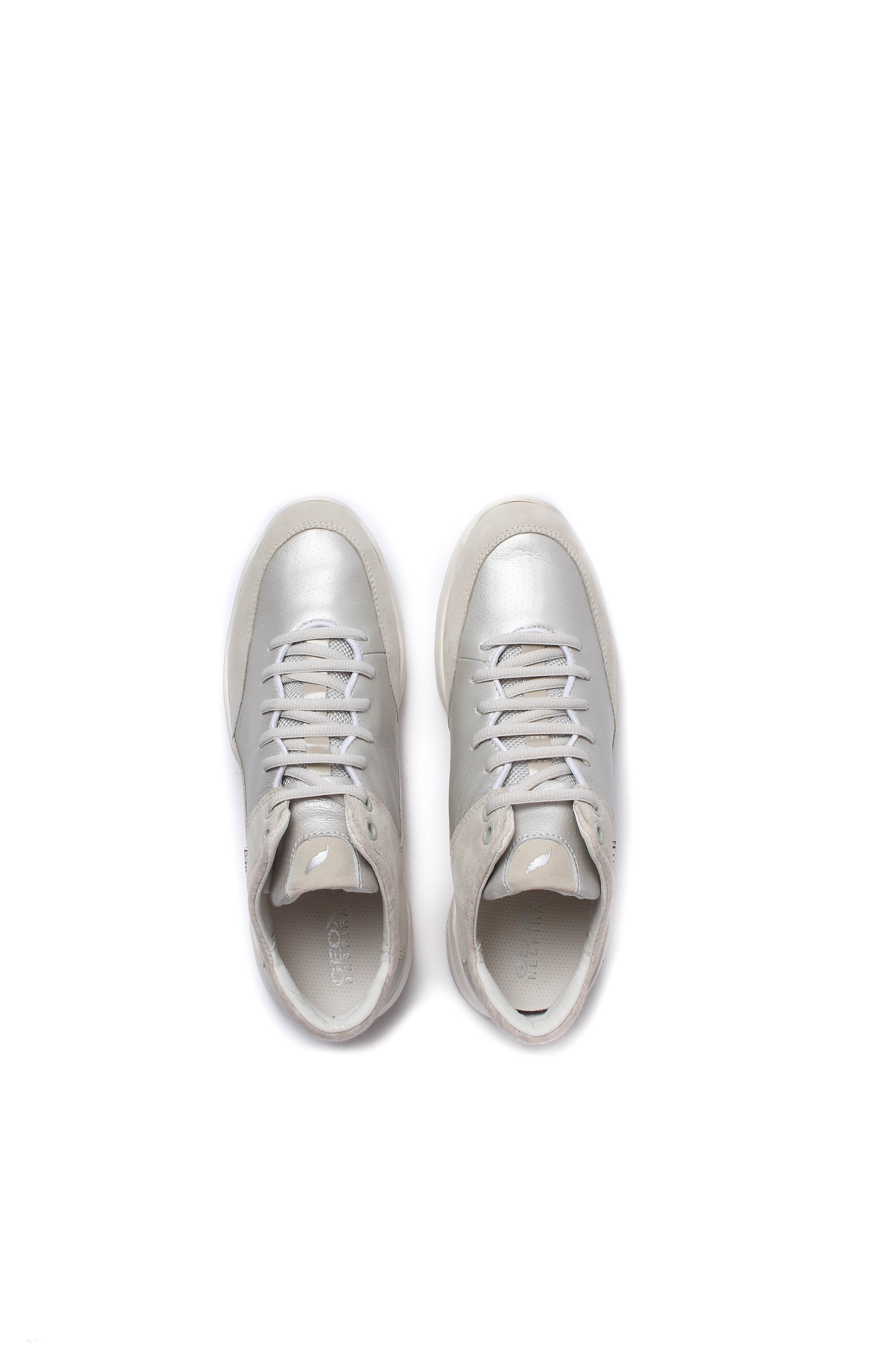 Geox Women's Sfinge Metallic Leather & Suede Trainers - Platinum & Ivory