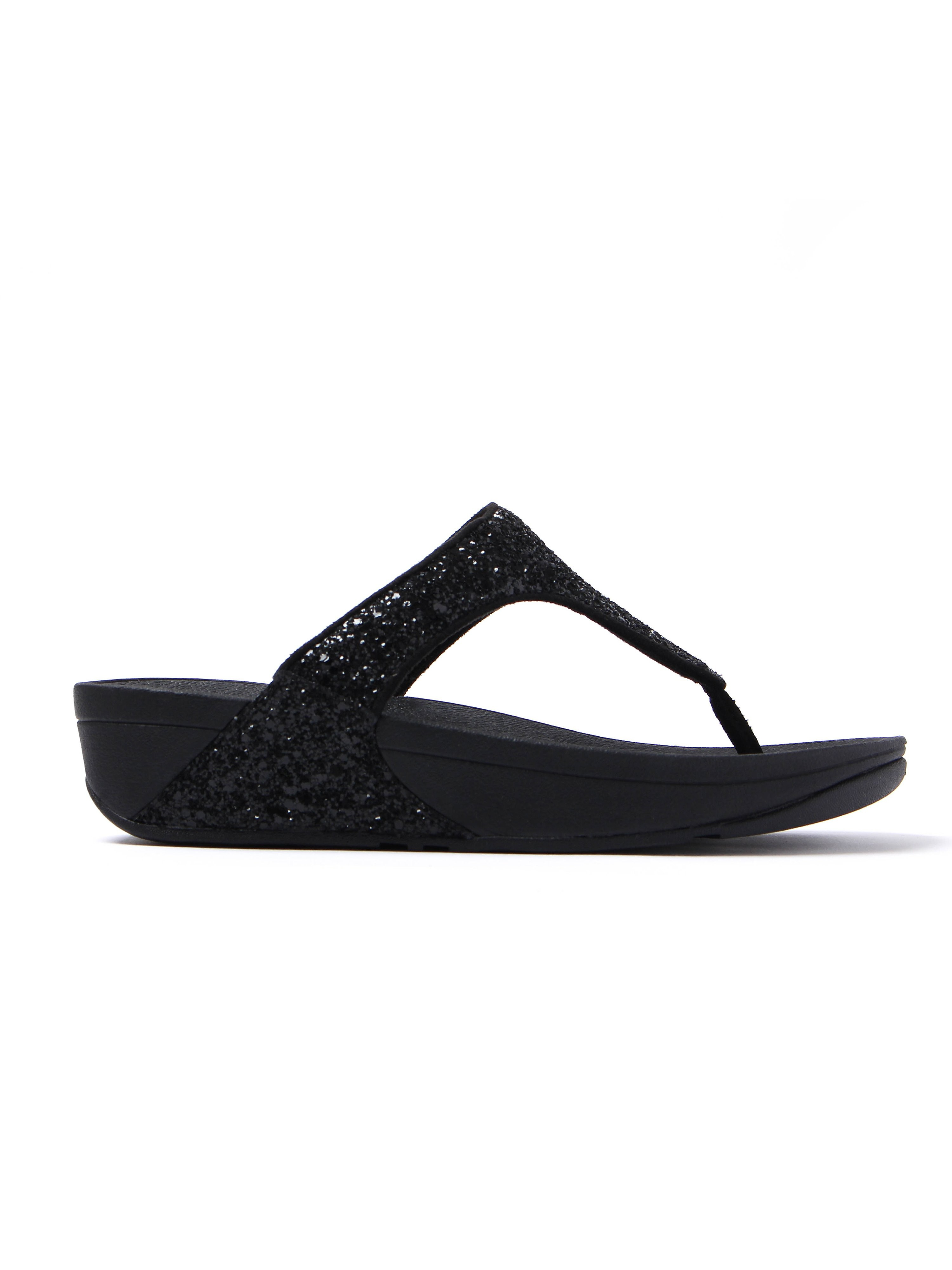 FitFlop Womens Glitterball™ Toe-Post Sandals - Black