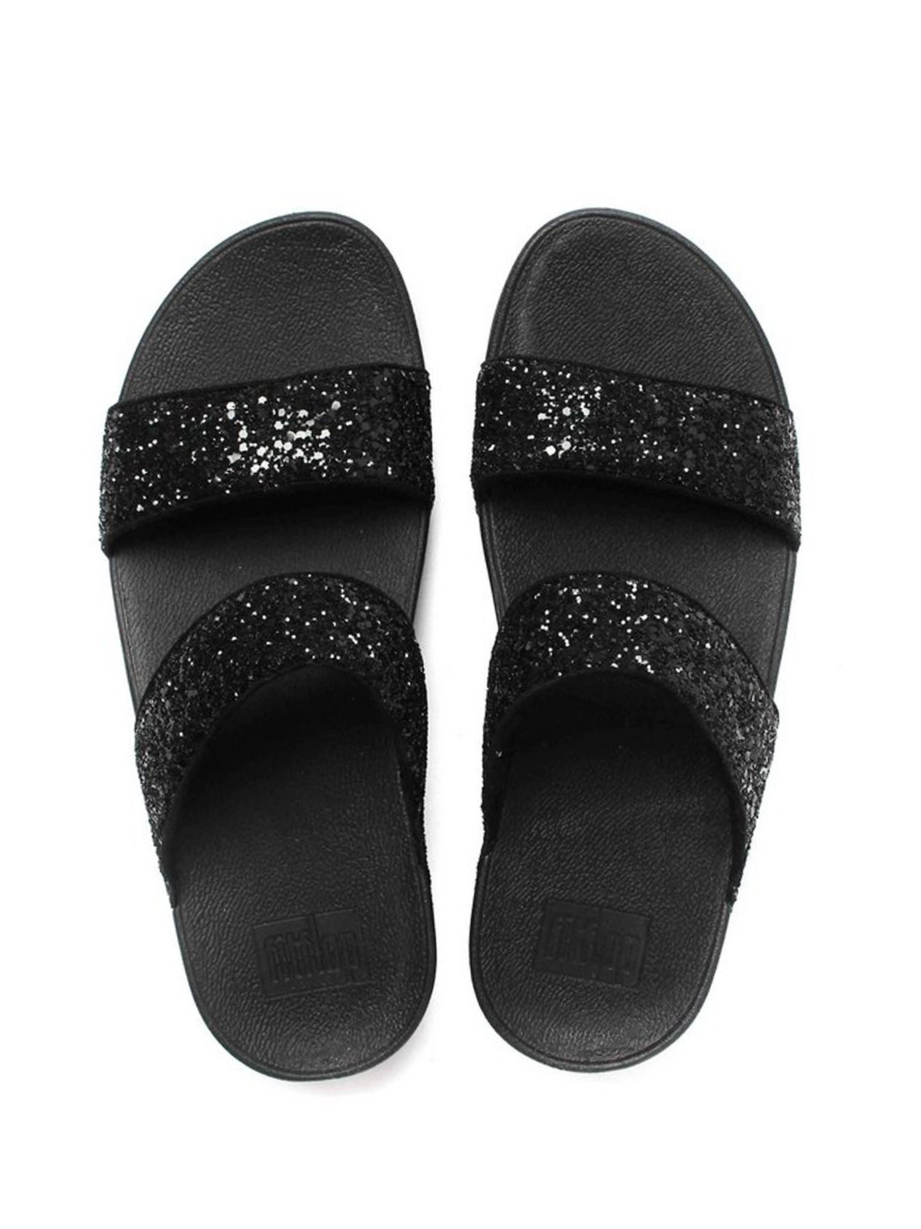 FitFlop Women's Glitterball Slide Sandals Black