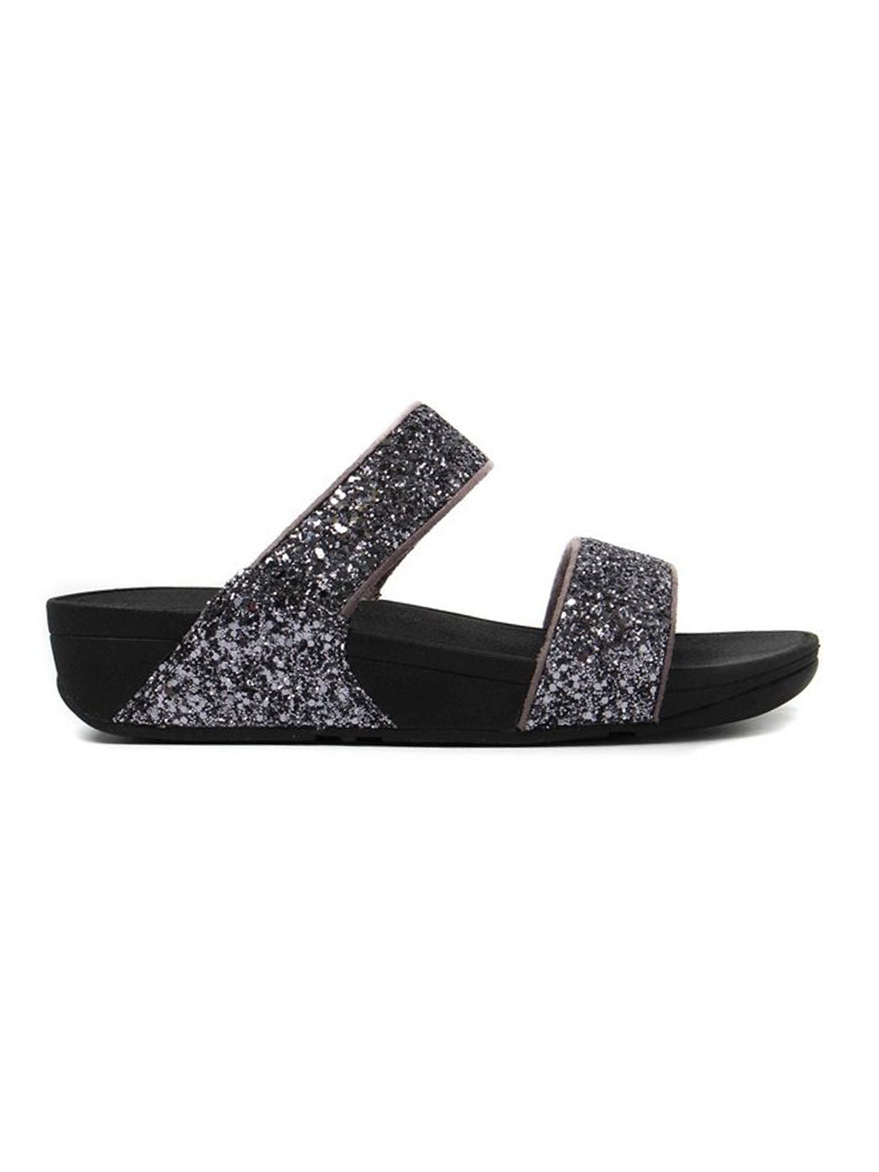 FitFlop Women's Glitterball Slide Sandals Pewter