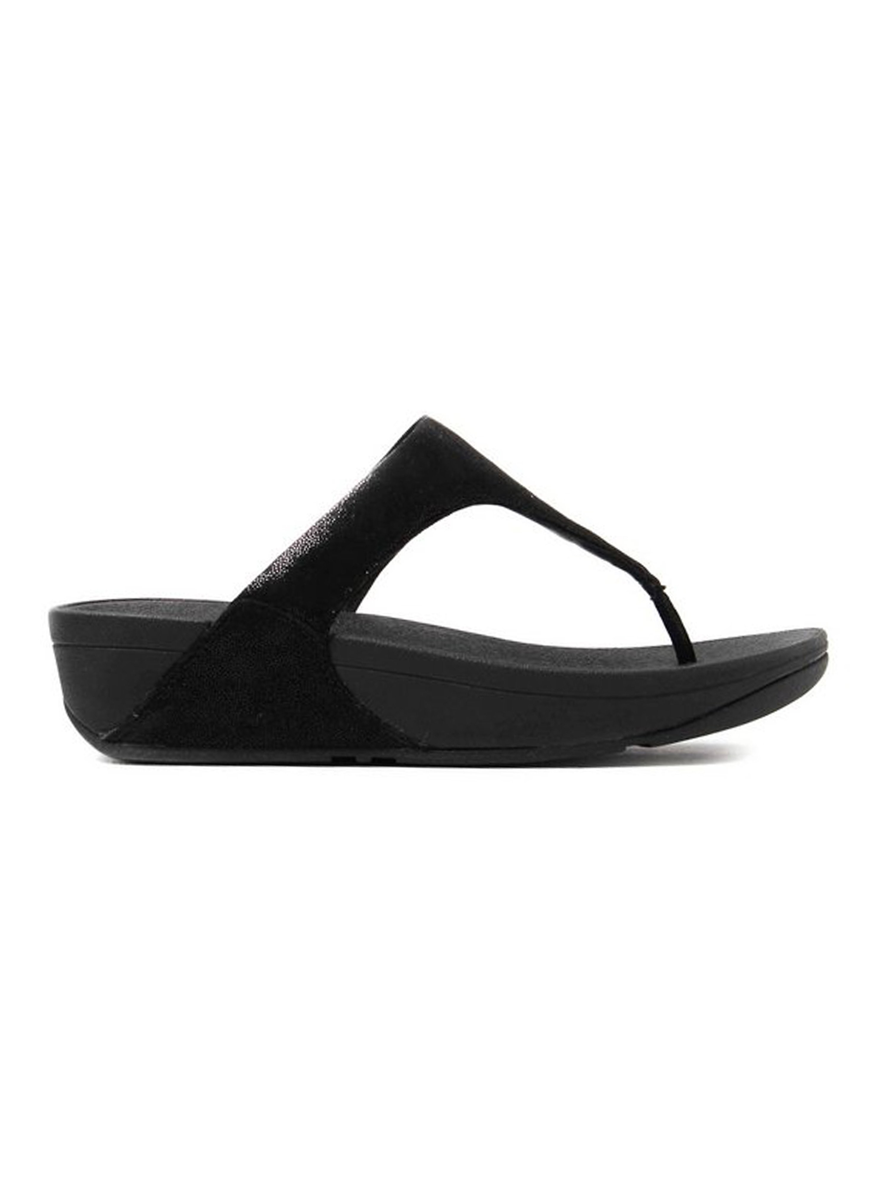FitFlop Women's Shimmy Suede Toe-Post Sandals Black Glimmer
