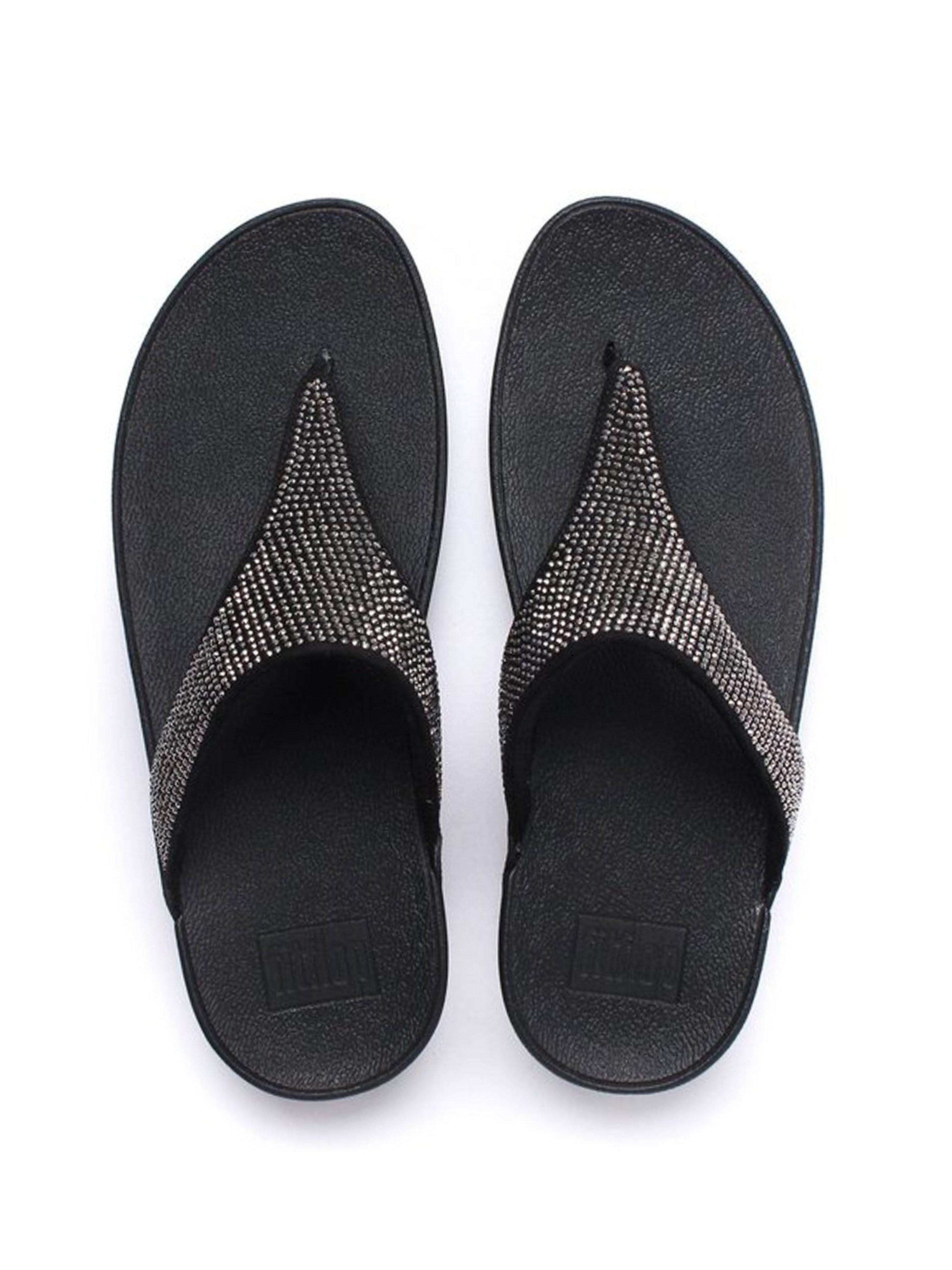 FitFlop Women's Slinky Rokkit Toe-Post Sandals - Black