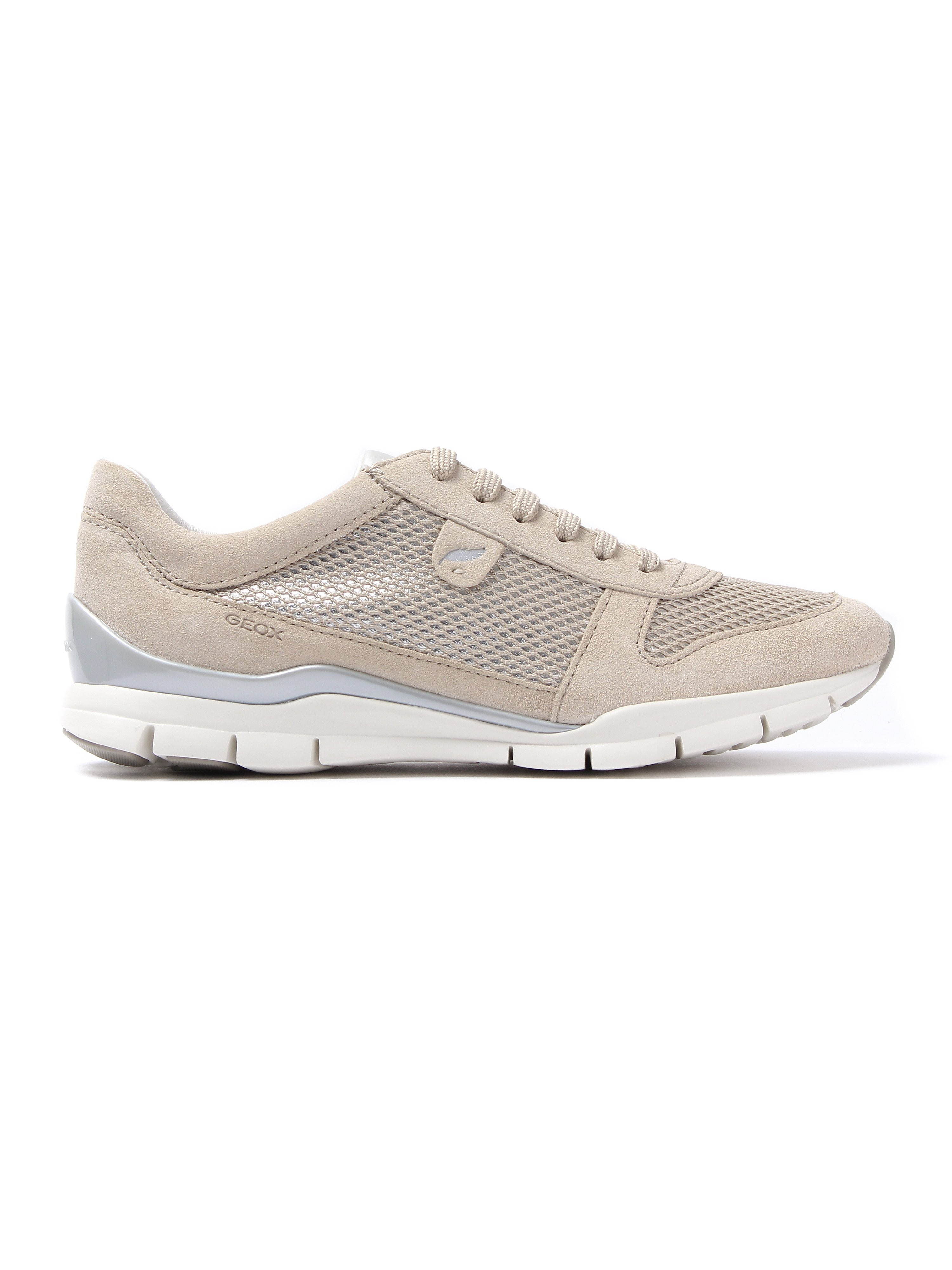 Geox Women's Sukie Suede & Metallic Mesh Trainers - Skin