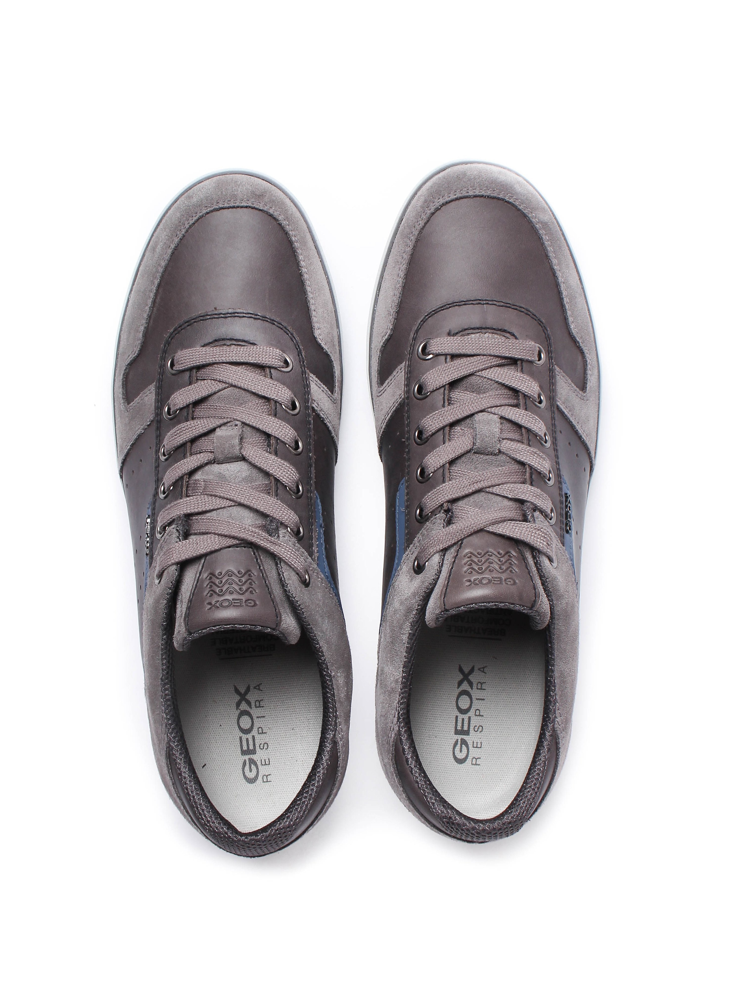 Geox Men's Box Waxed Leather & Suede Trainers - Anthracite