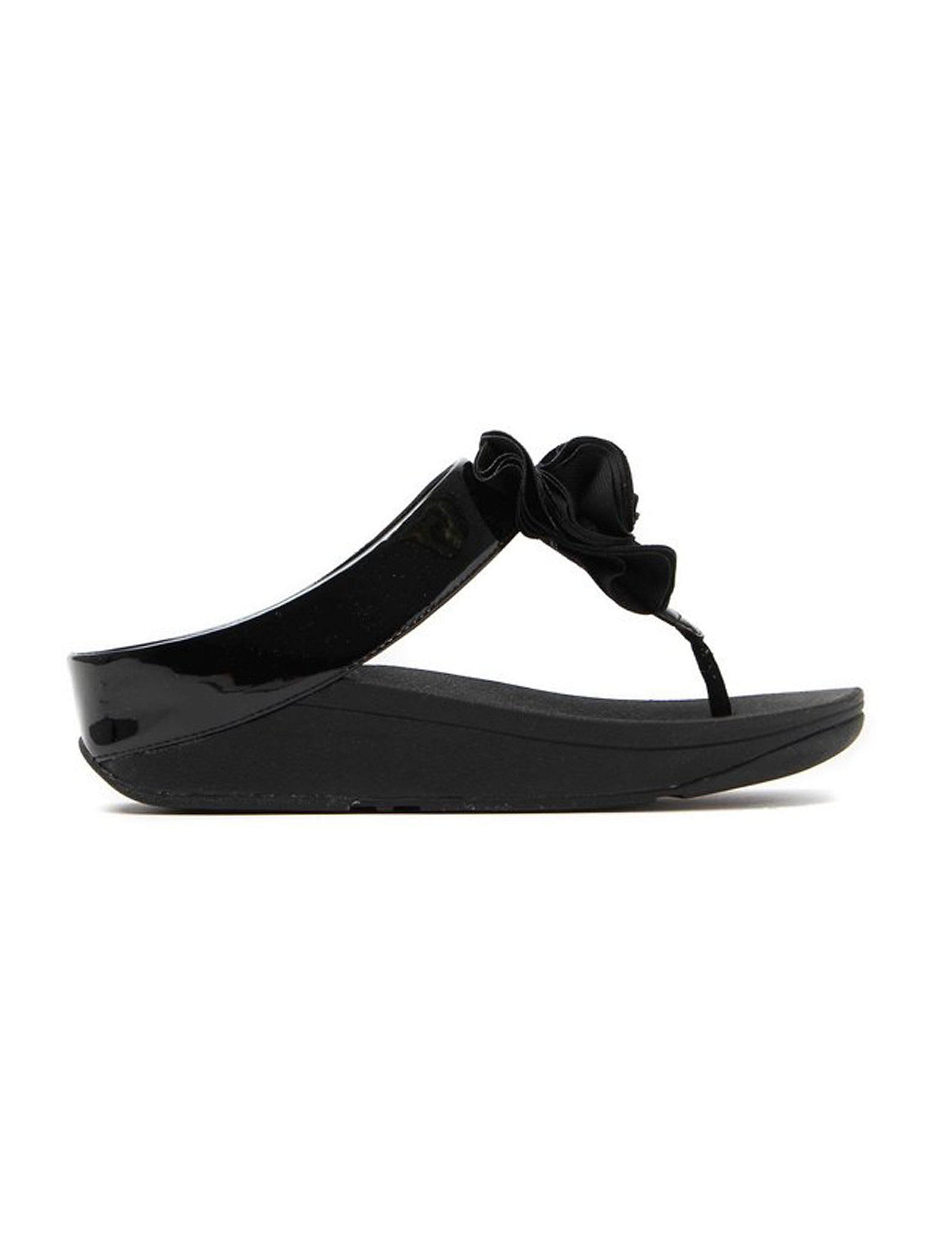 FitFlop Women's Patent Florrie Toe-Post Sandals - Black