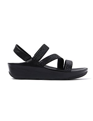 af5cd1dd0 FitFlop Women s Crystall Z-Strap Sandals - Black ...