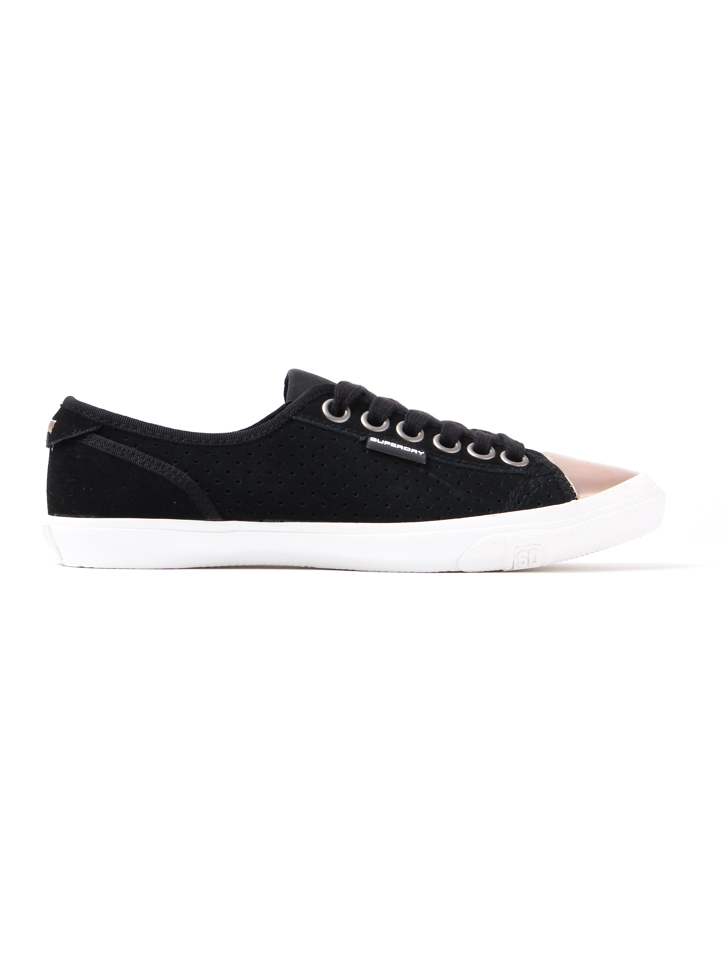 Superdry Women's Low Pro Luxe Perforated Suede Trainers - Black