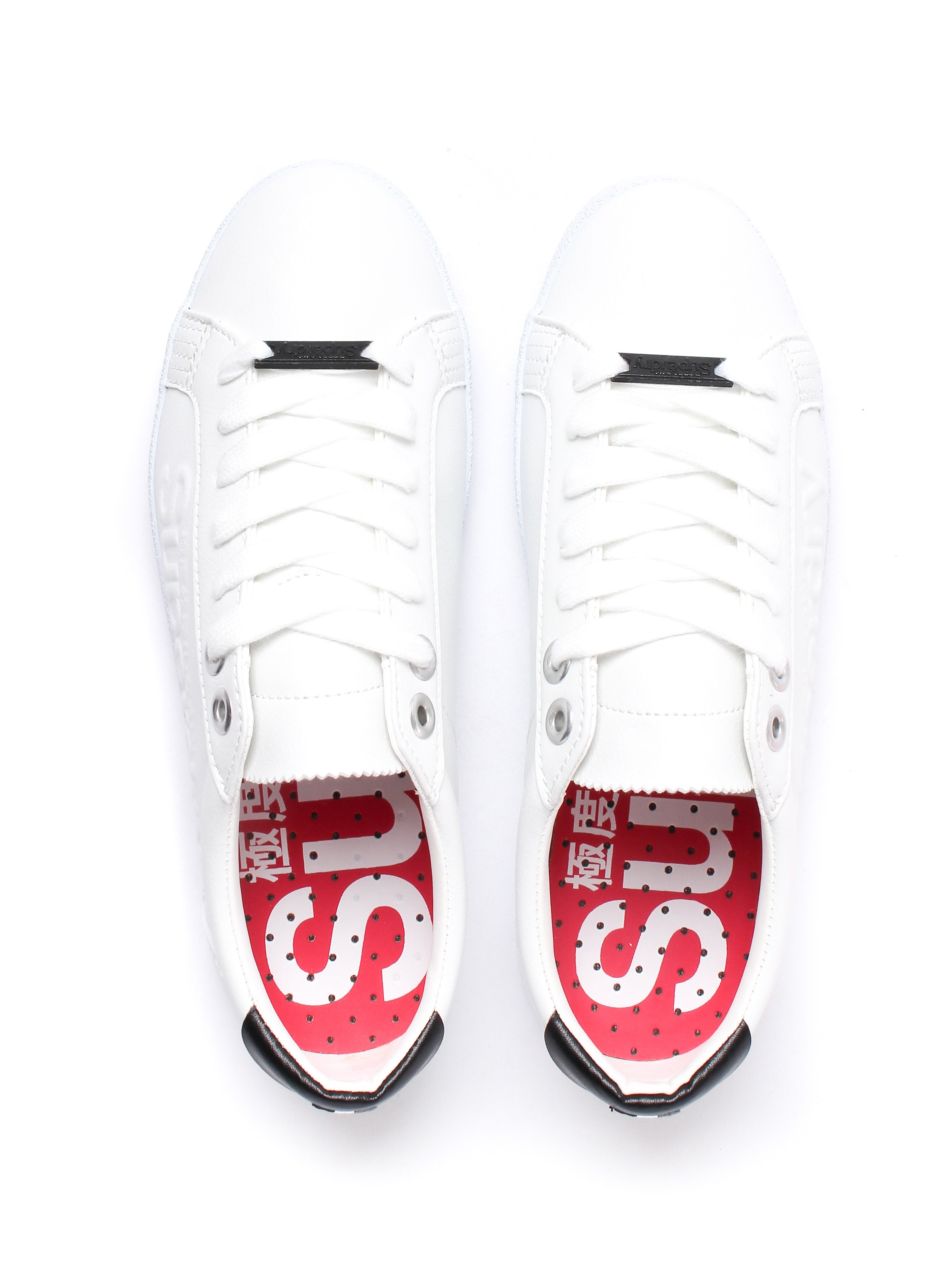Superdry Women's Super Sleek Logo Leather Look Trainers - White