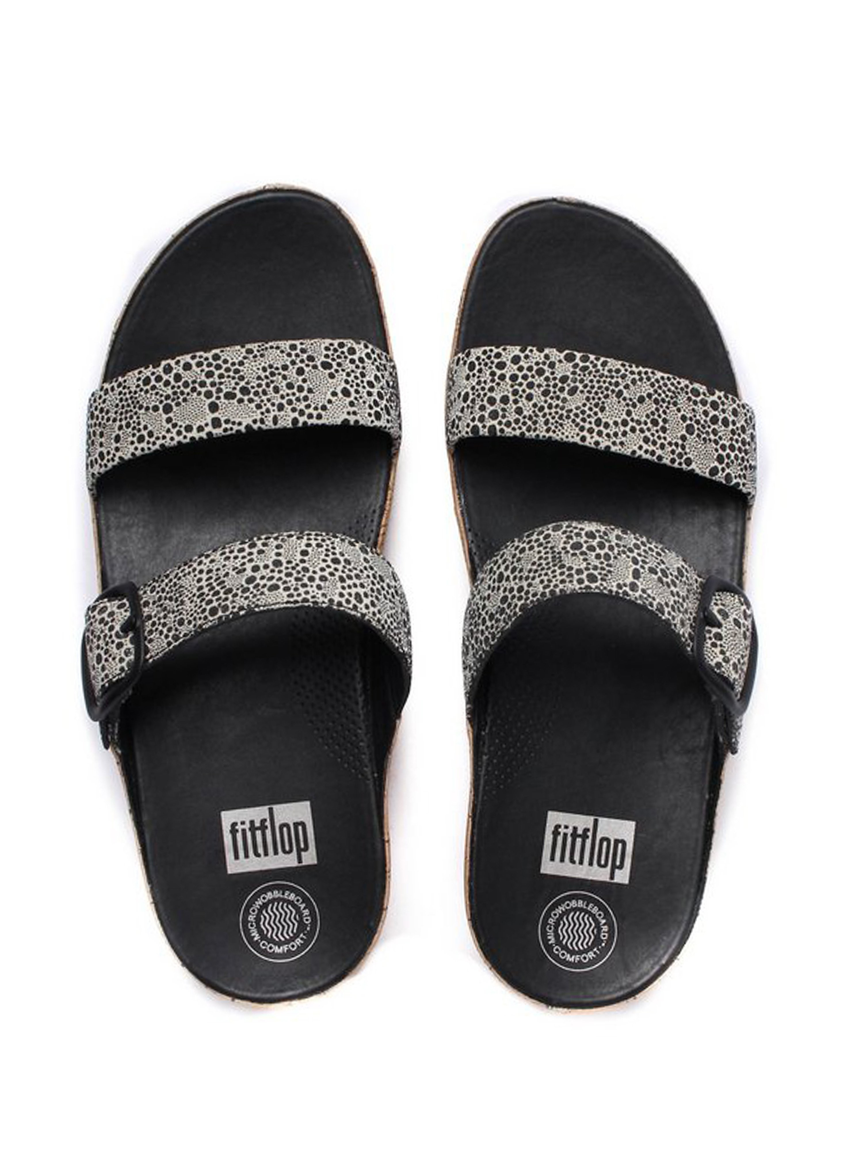 FitFlop Women's Stack Slide Cirque Sandals - Black & White