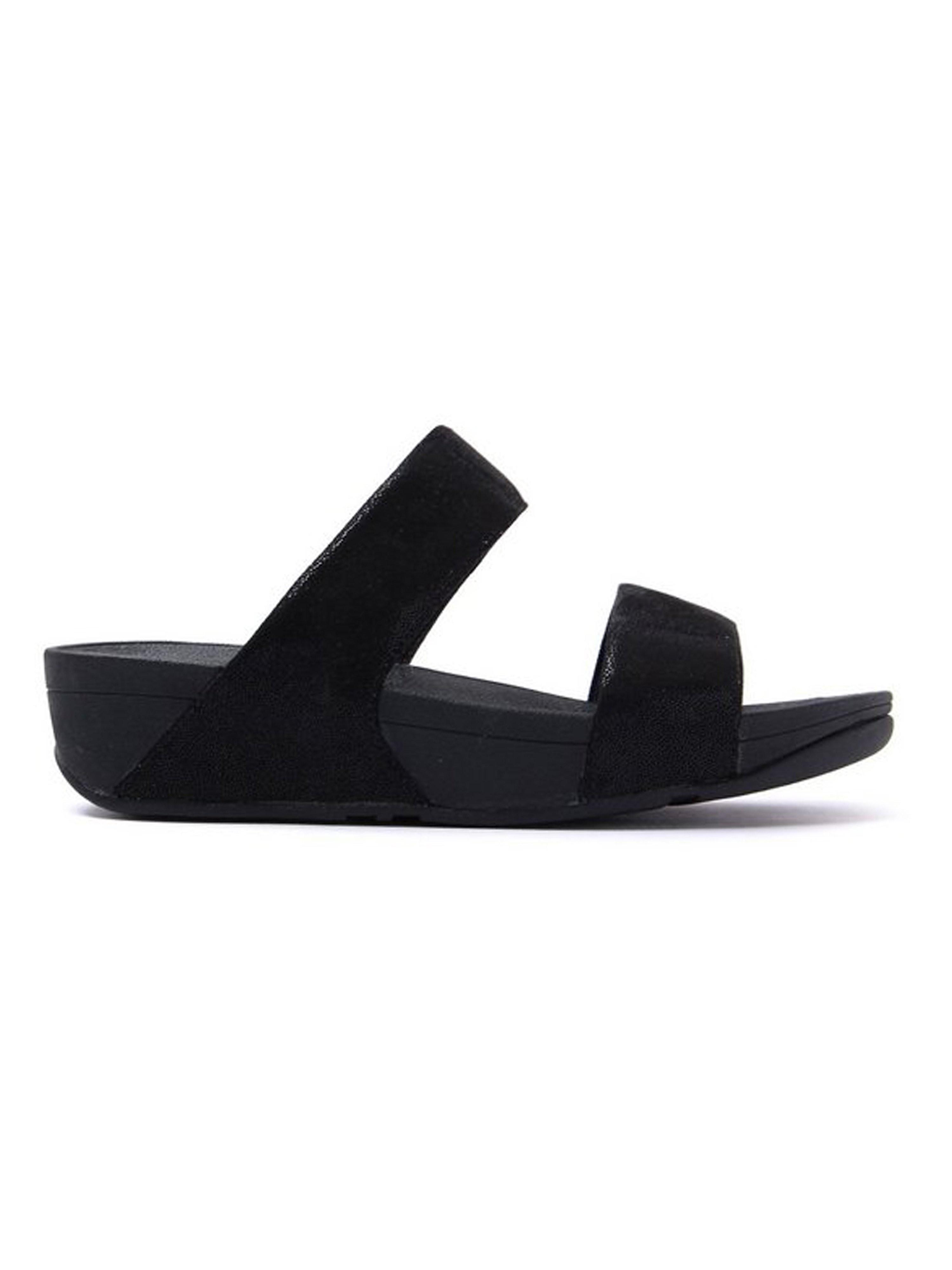 FitFlop Women's Shimmy Suede Slide Sandals - Black Glimmer