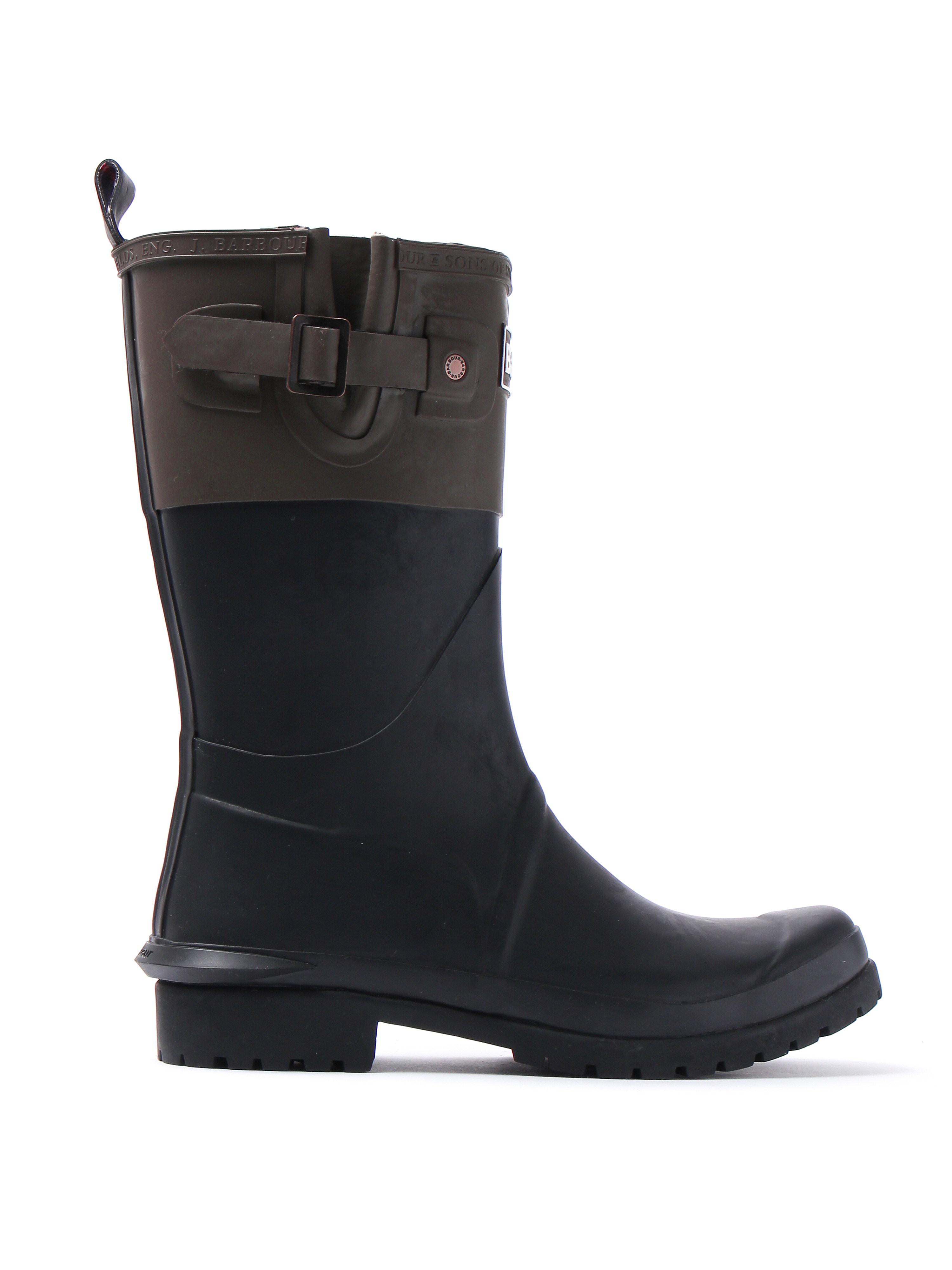 Barbour Women's Short Colour Block Rubber Wellington Boots - Black & Olive