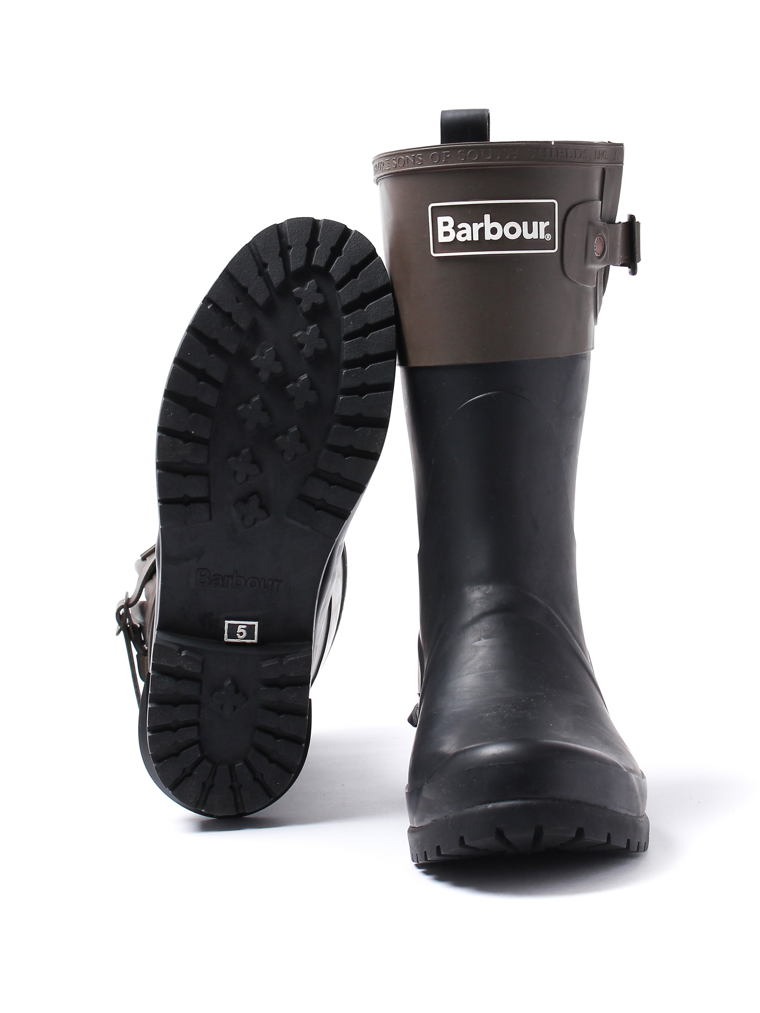 Barbour Women's Short Colour Block Rubber Wellington Boots - Black & Olive