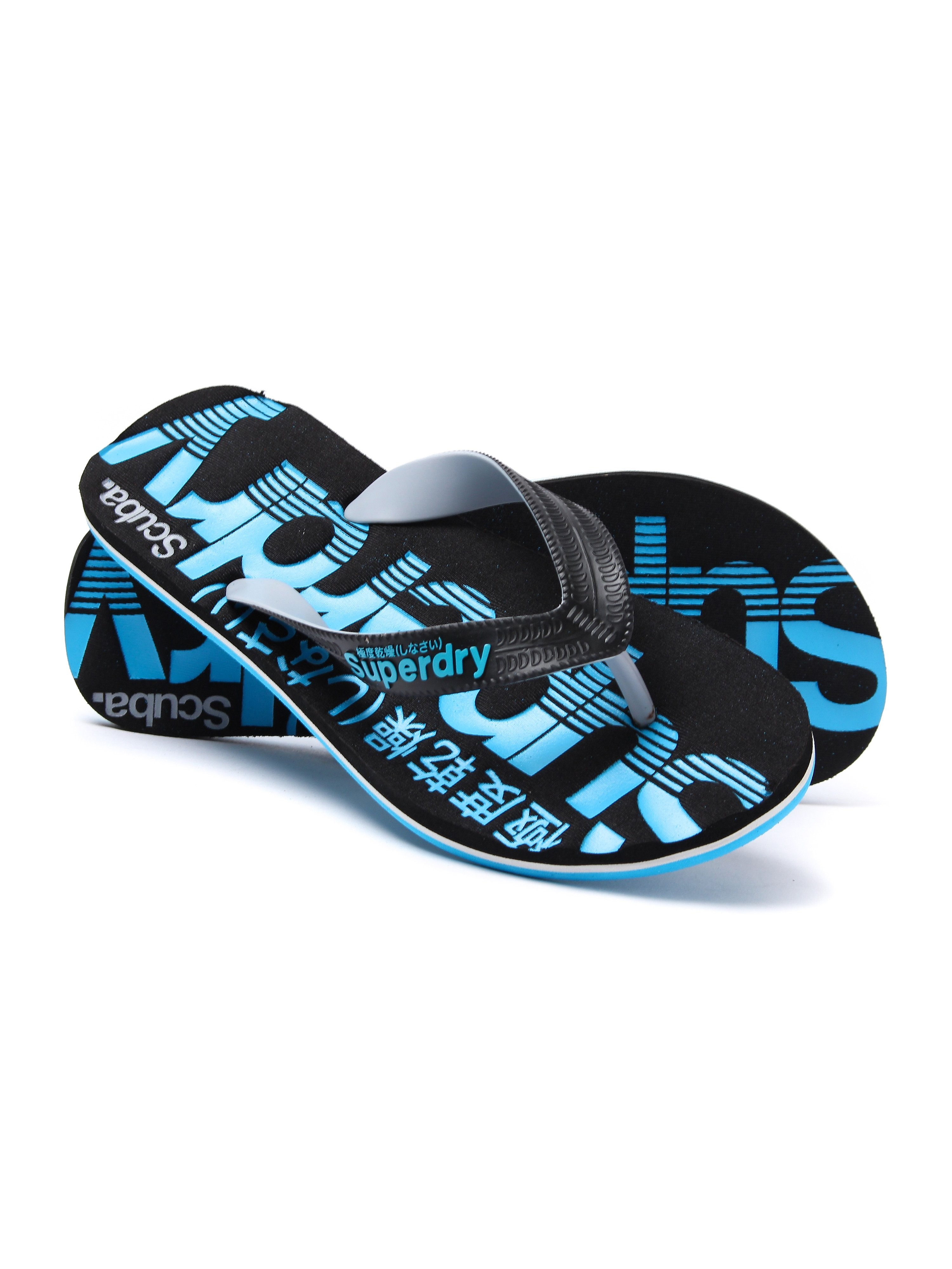 Superdry Men's Scuba Lightweight Flip Flops - Black & Fluro Blue