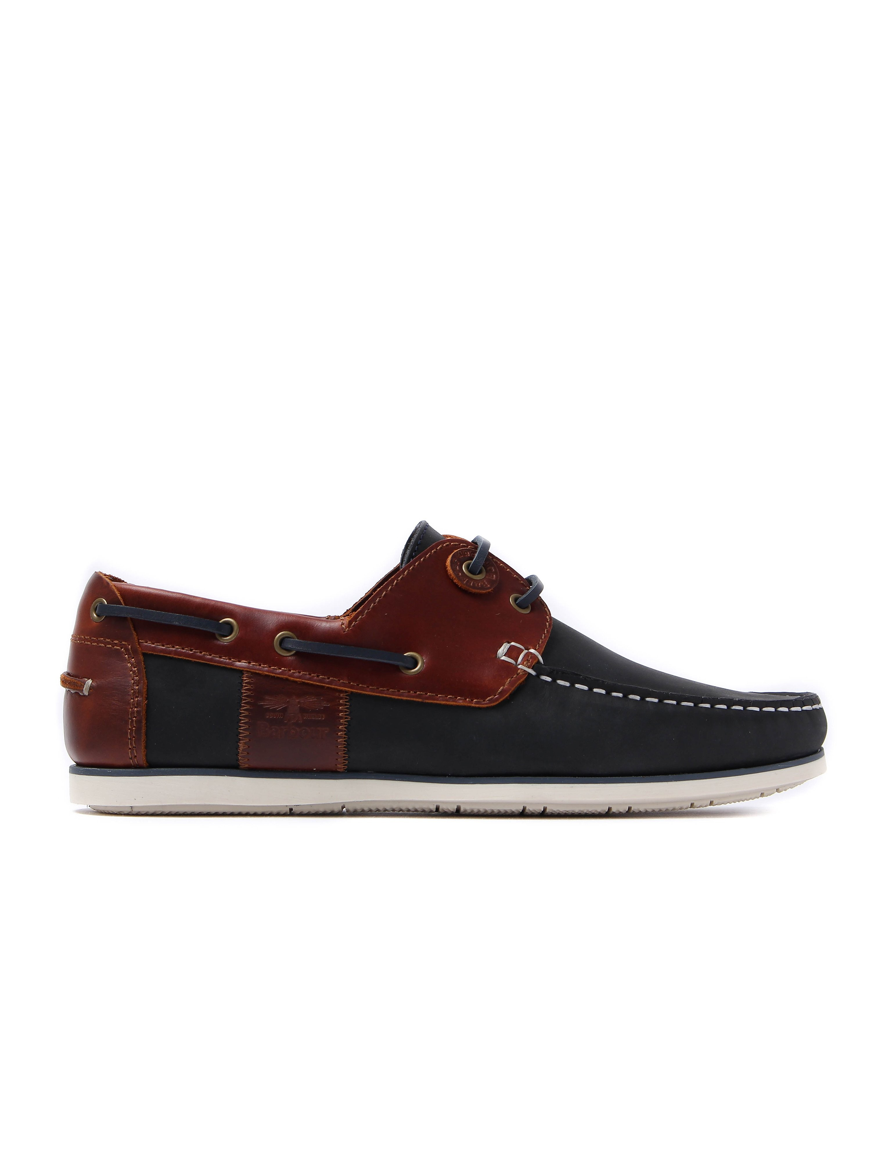 Barbour Men's Capstan Boat Shoes - Navy & Brown Leather
