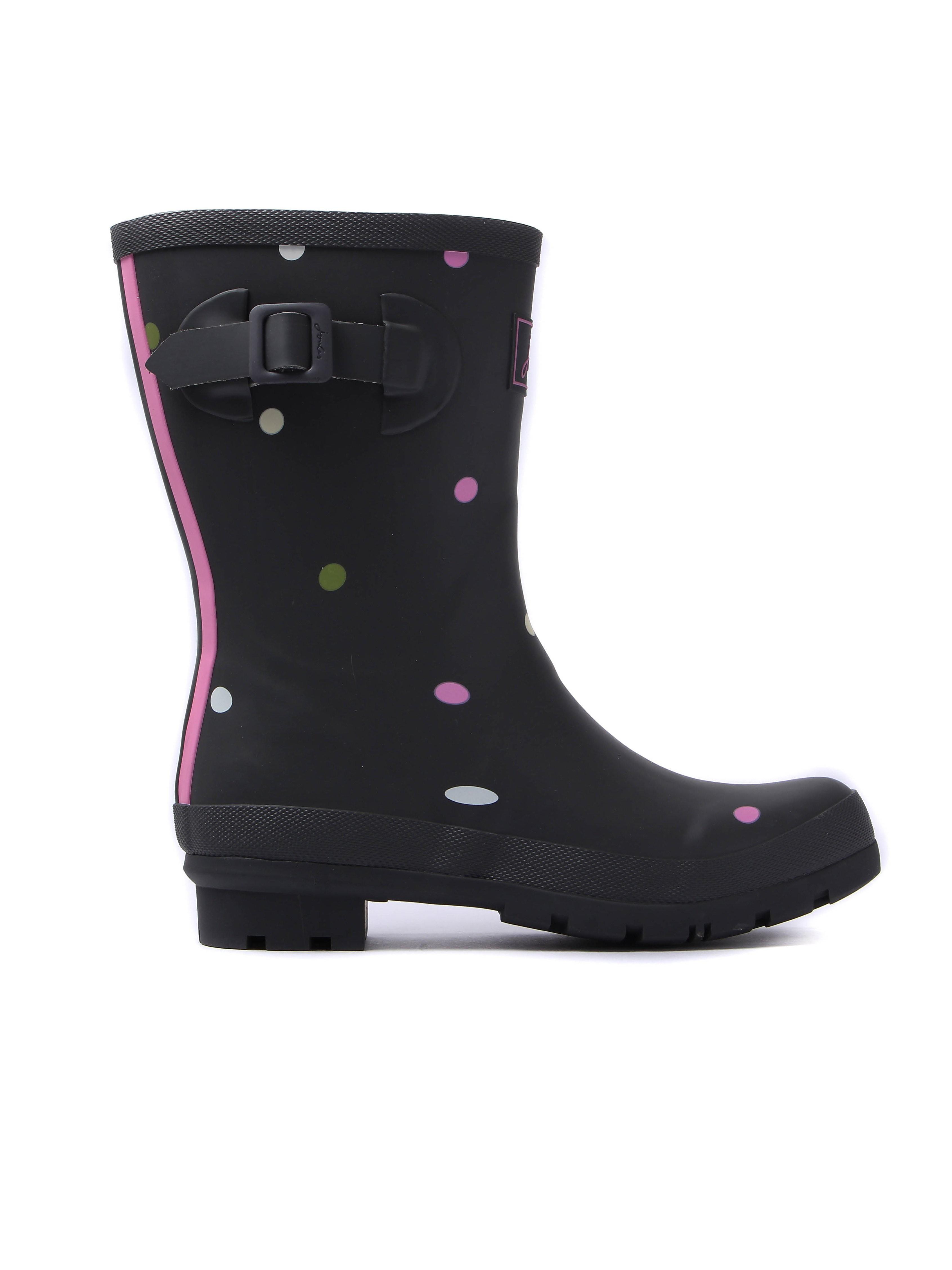 Joules Women's Molly Spot Rubber Mid-Height Wellington Boots - Grey Khaki