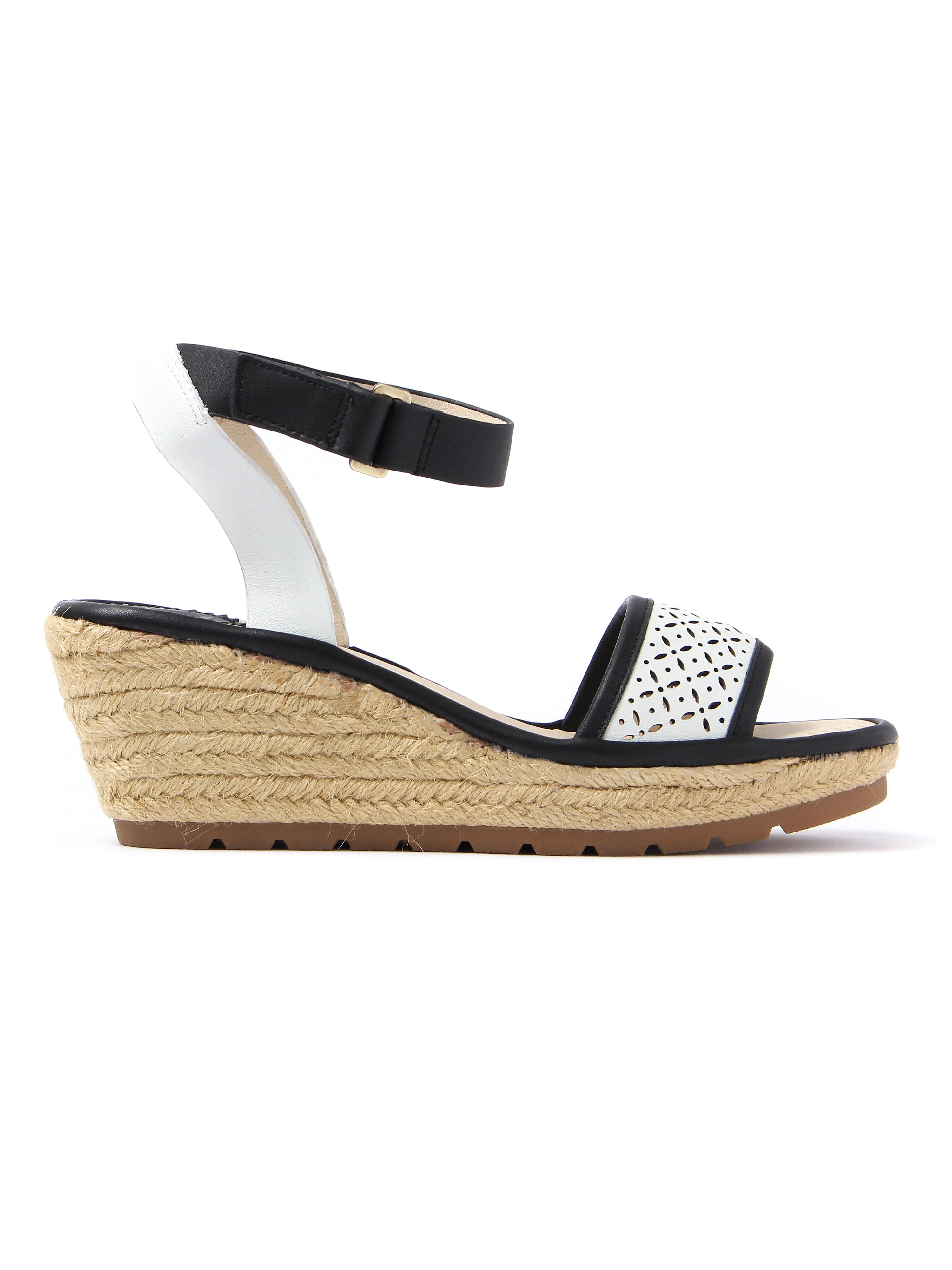 Fly London Women's Ekal Leather Laser Cut Ankle Strap Sandal - Black & Off White