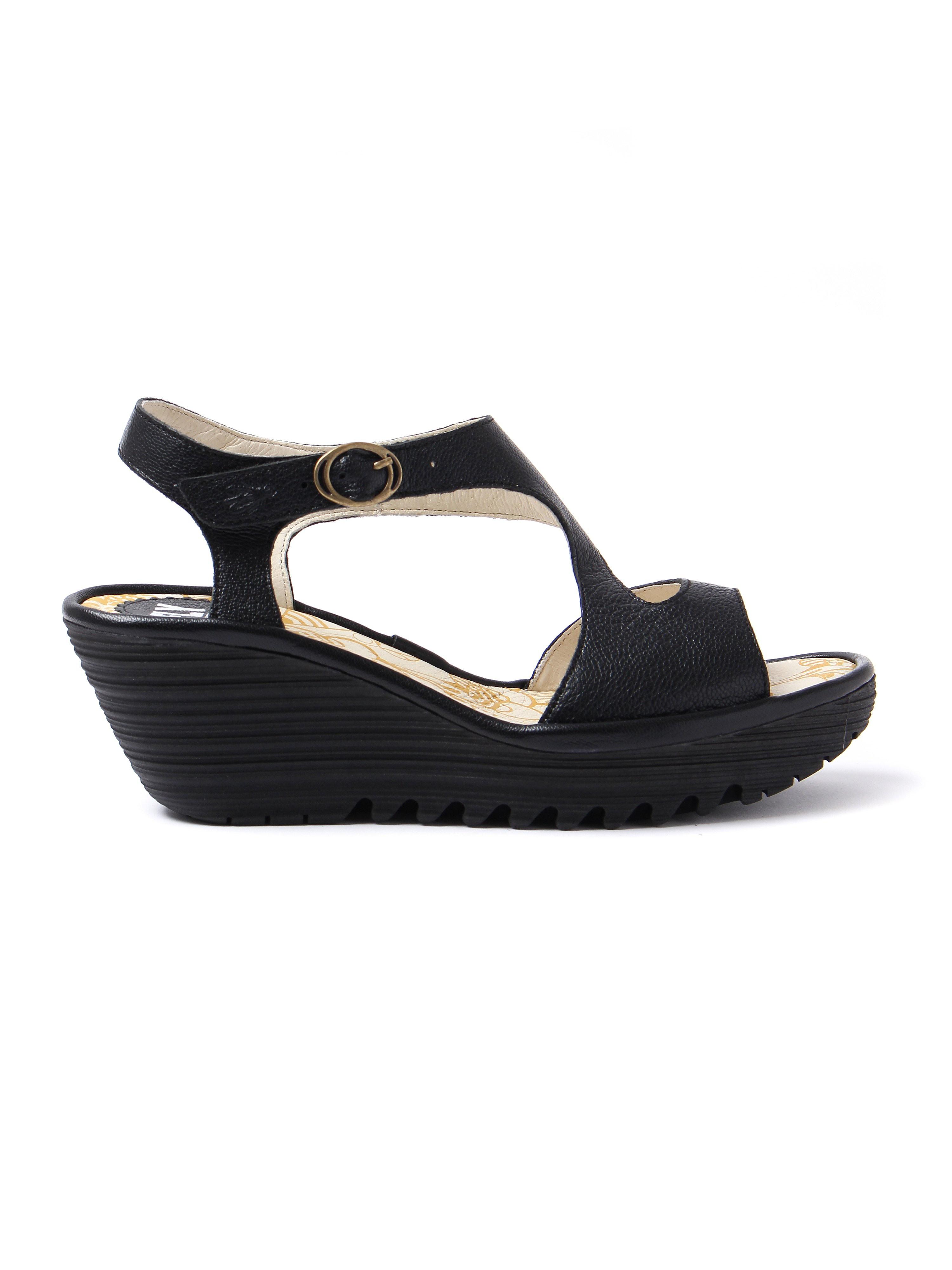 Fly London Women's Yanca Leather Sandals - Black Mousse