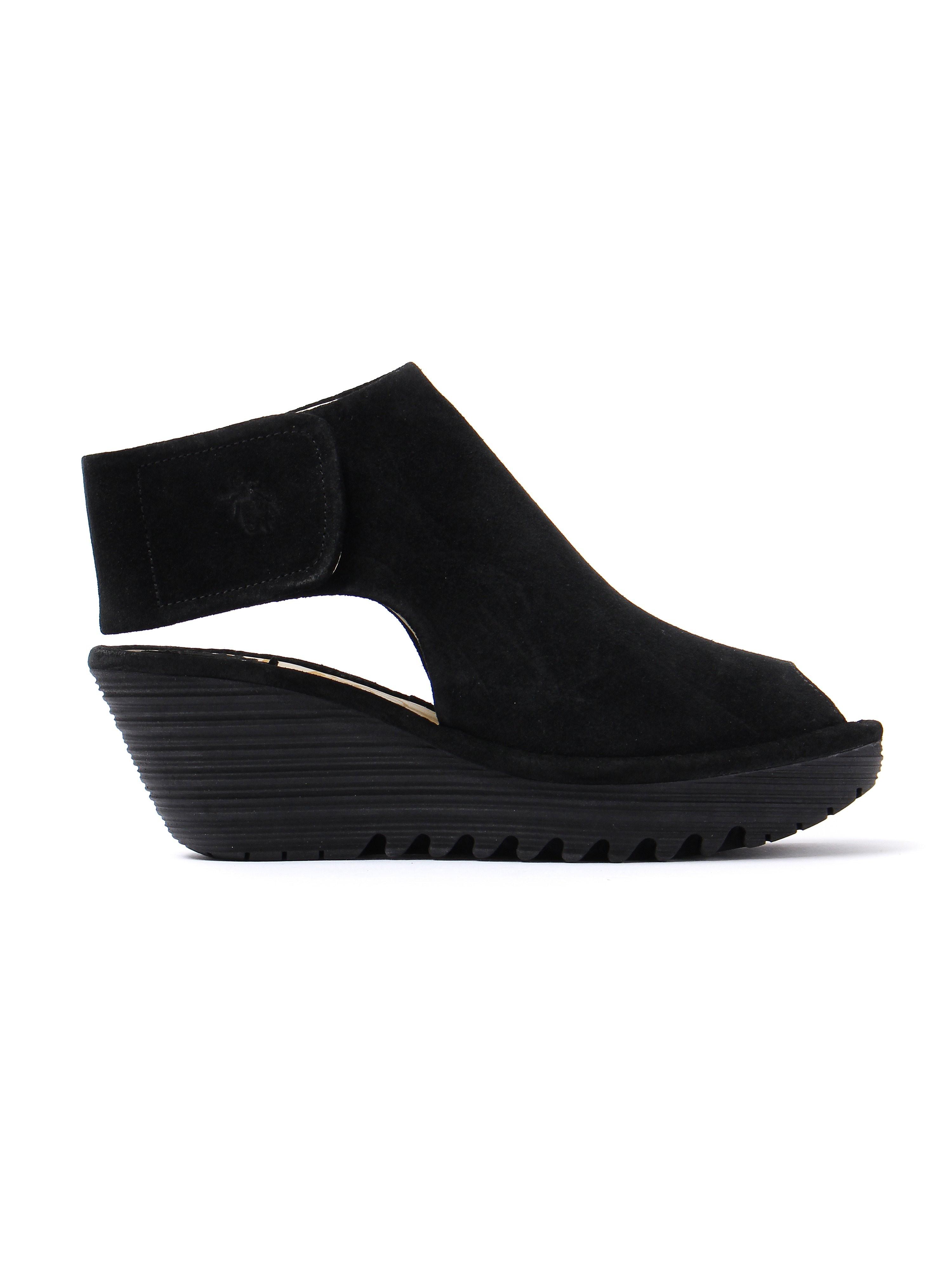 Fly London Women's Yone Suede Wedge Heel Shoes - Black