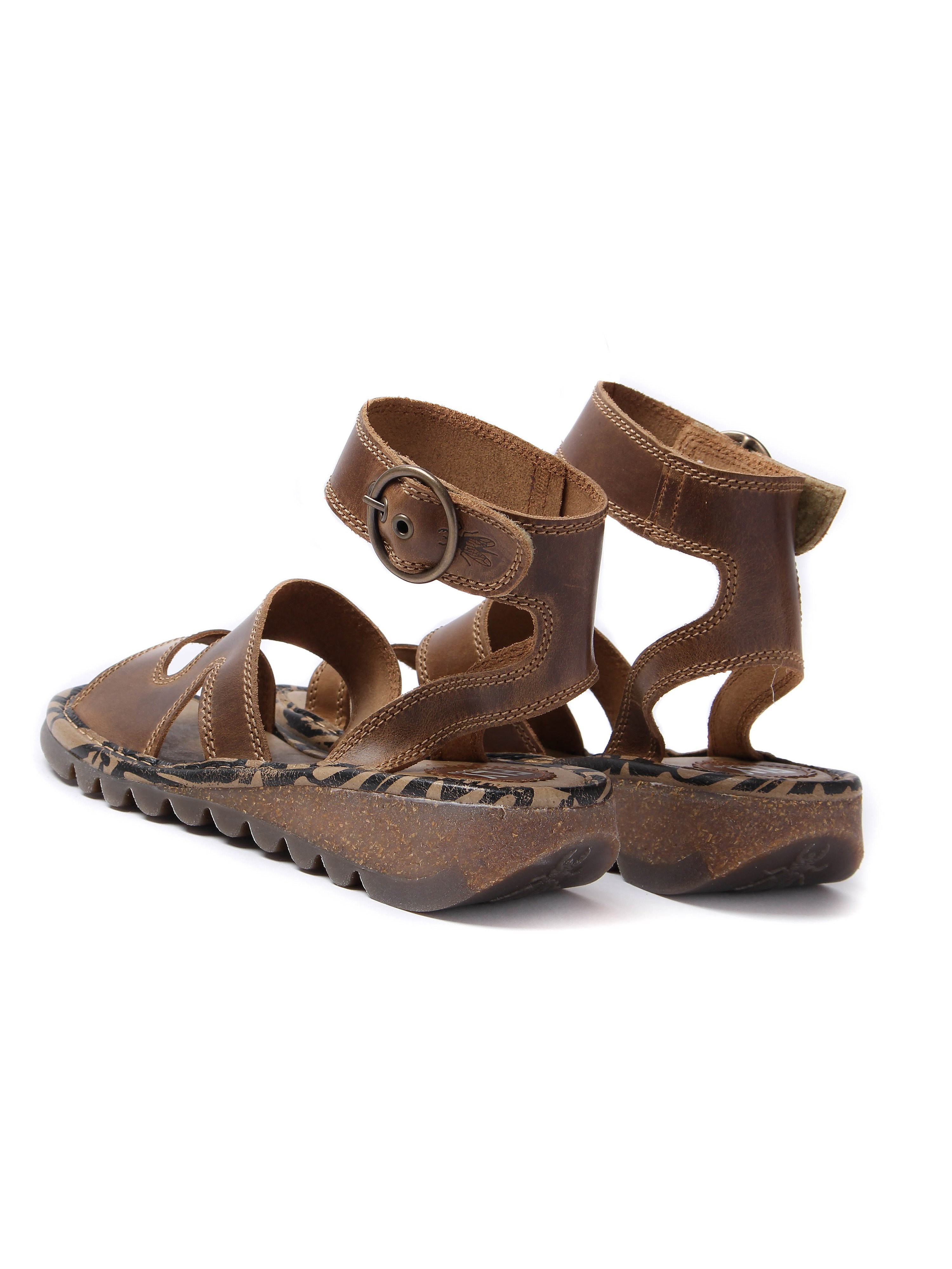 Fly London Women's Tily Bridle Leather Sandals - Camel