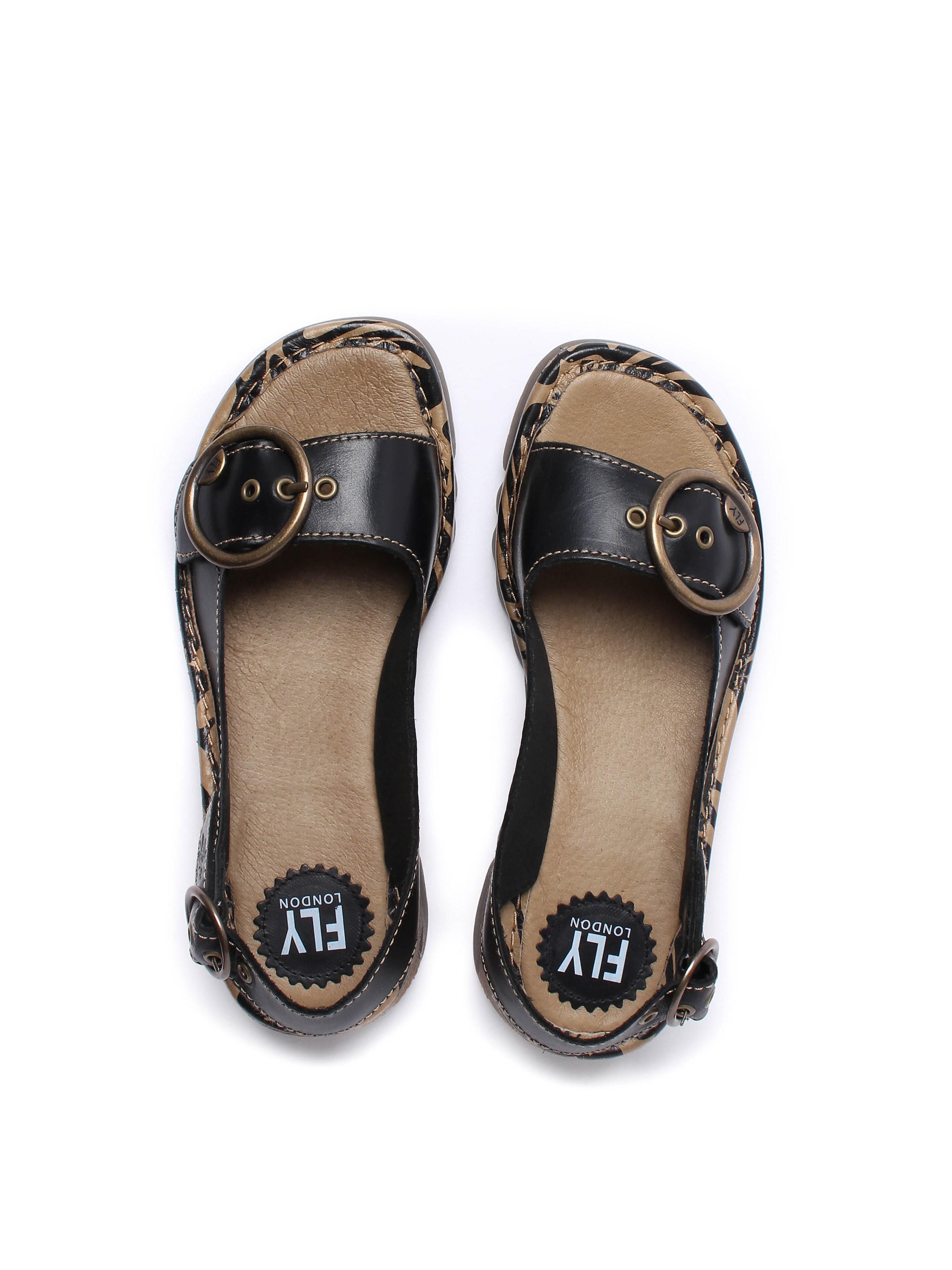 Fly London Women's Tram Brooklyn Leather Slingback Sandals - Black