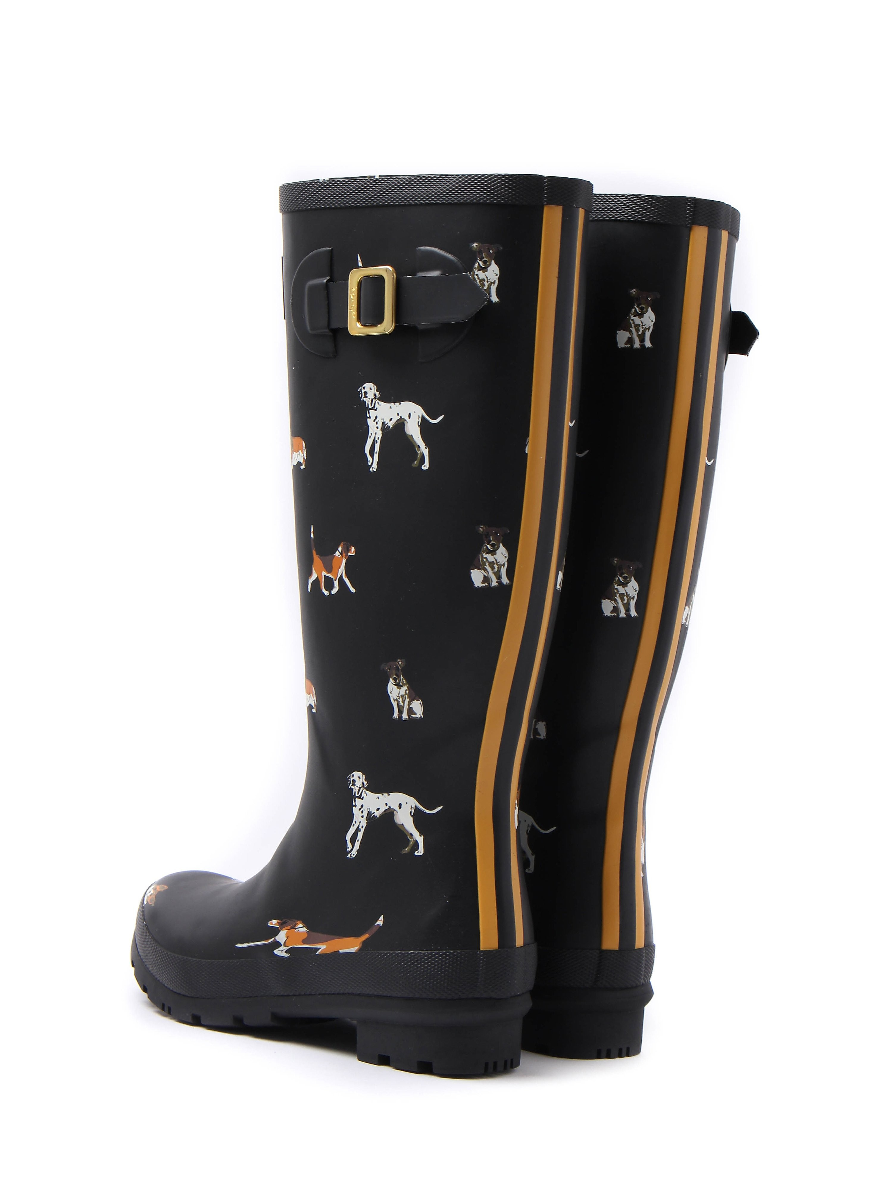 Joules Women's Wellyprint Dog Rubber Wellington Boots - Black
