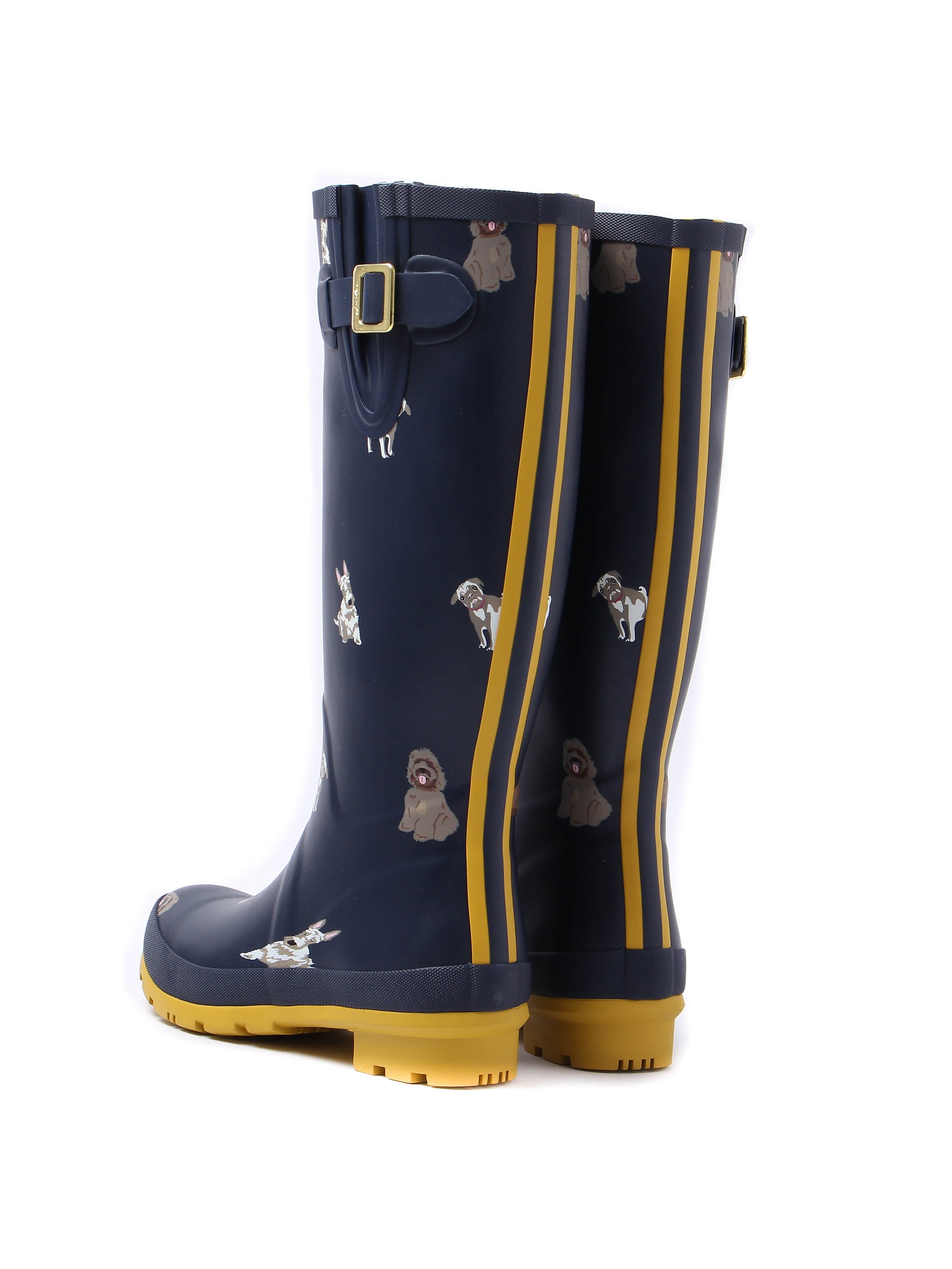 Joules Women's Wellyprint Fido Dog Rubber Wellington Boots - French Navy