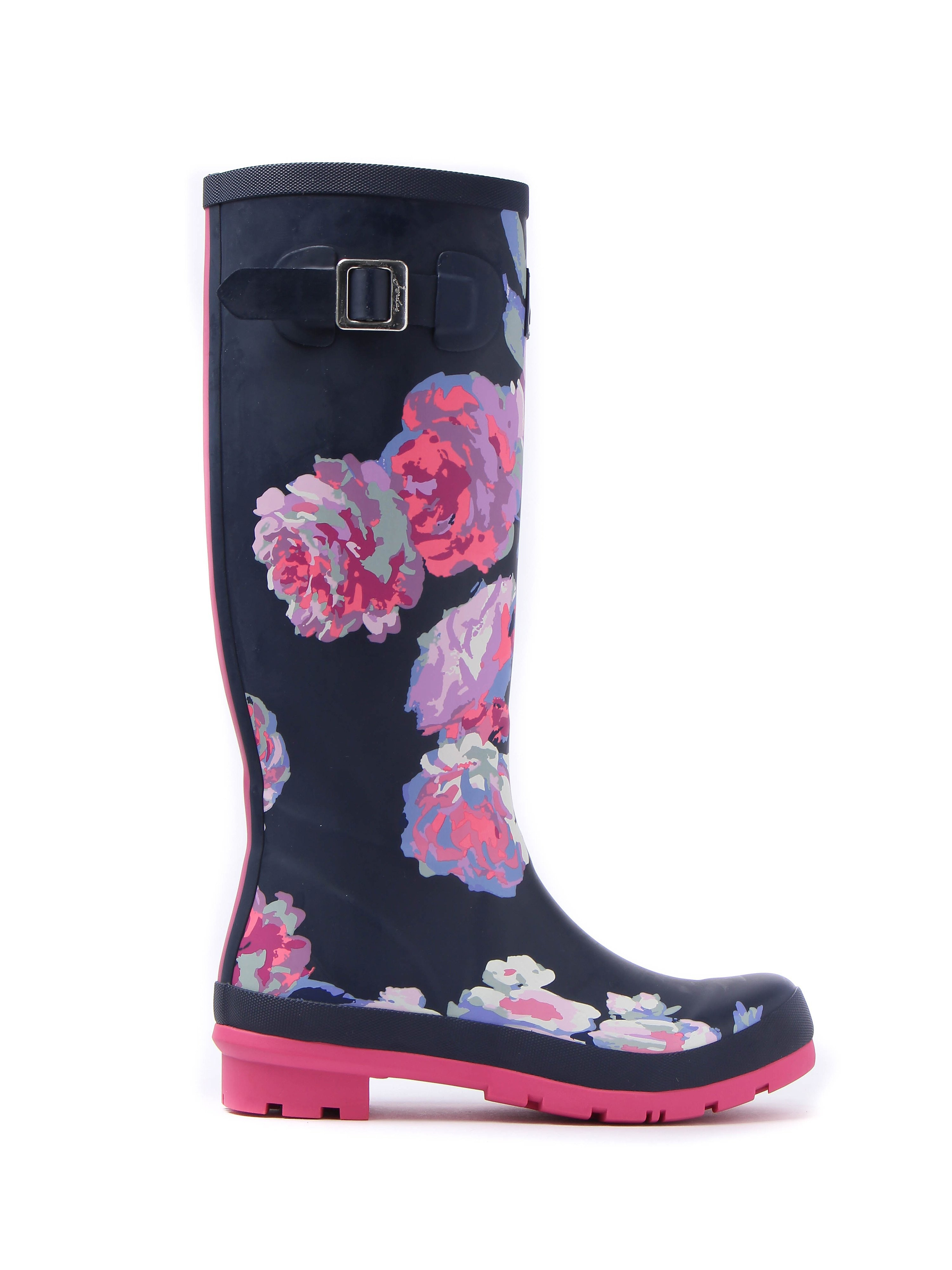 Joules Women's Print French Beau Bloom Full Height Rubber Wellington Boots - Navy Beau Bloom