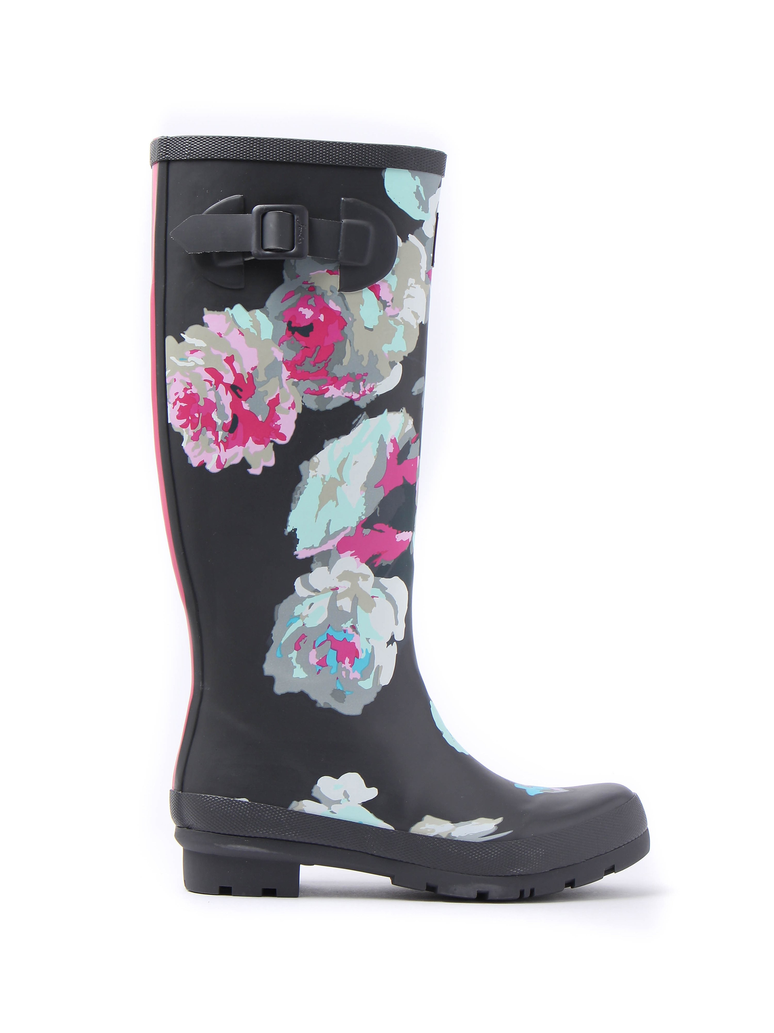 Joules Women's Floral Wellyprint Full Height Rubber Wellington Boots - Grey & Beau Bloom