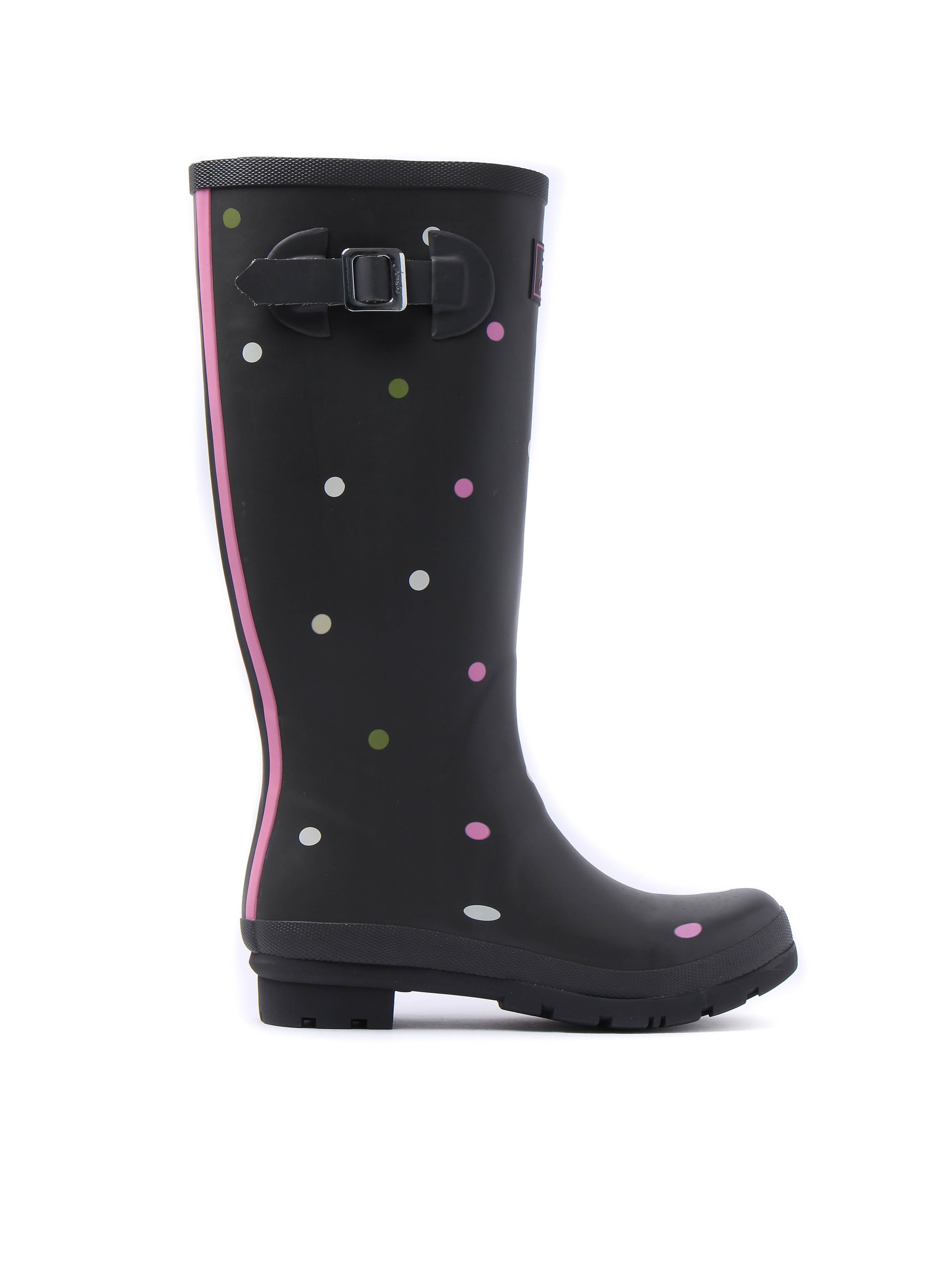 Joules Women's Wellyprint Spot Rubber  Wellington Boots - Grey Khaki