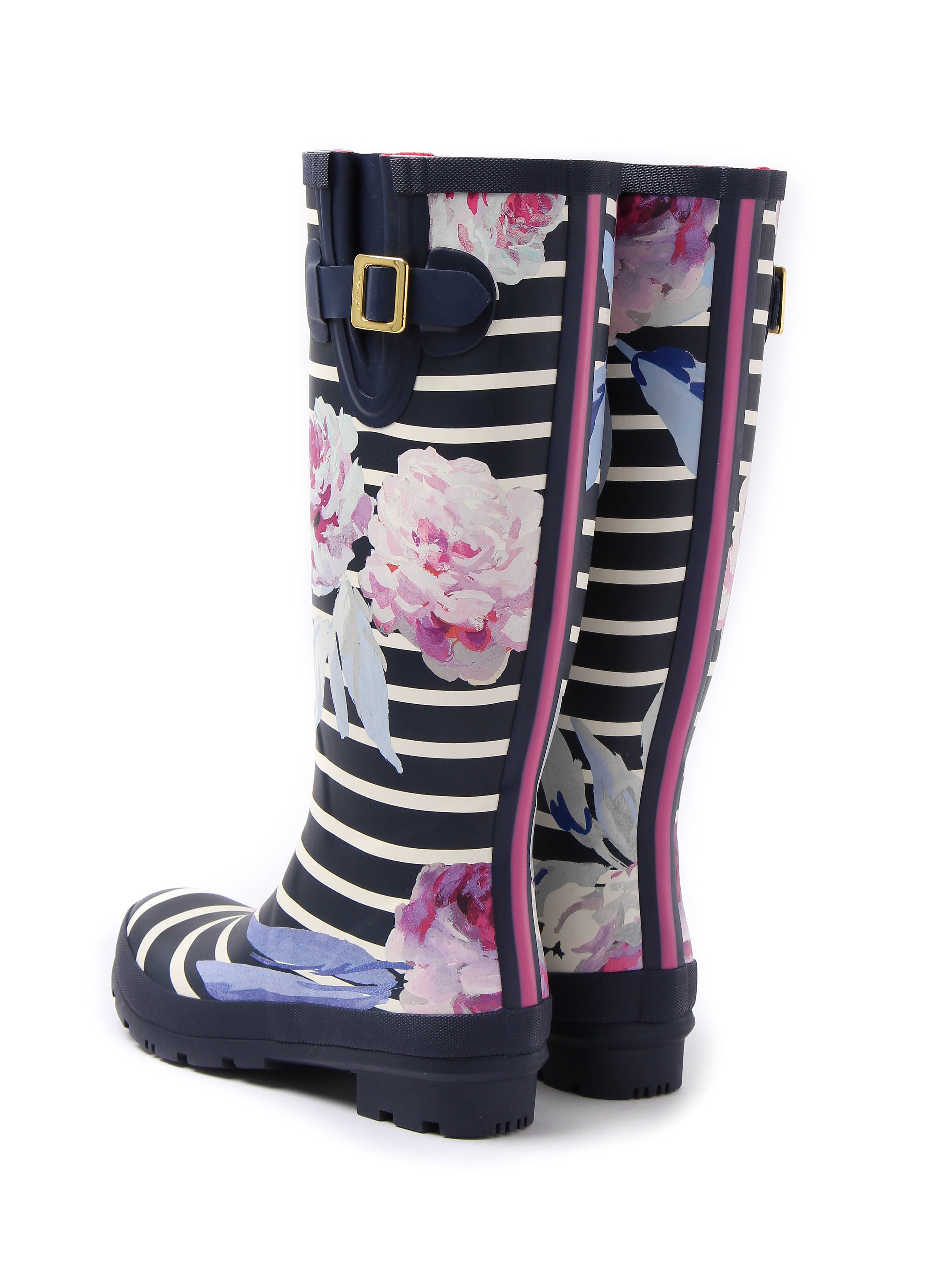 Joules Women's Print Full Height Rubber Wellington Boot - Navy Bloom Stripe