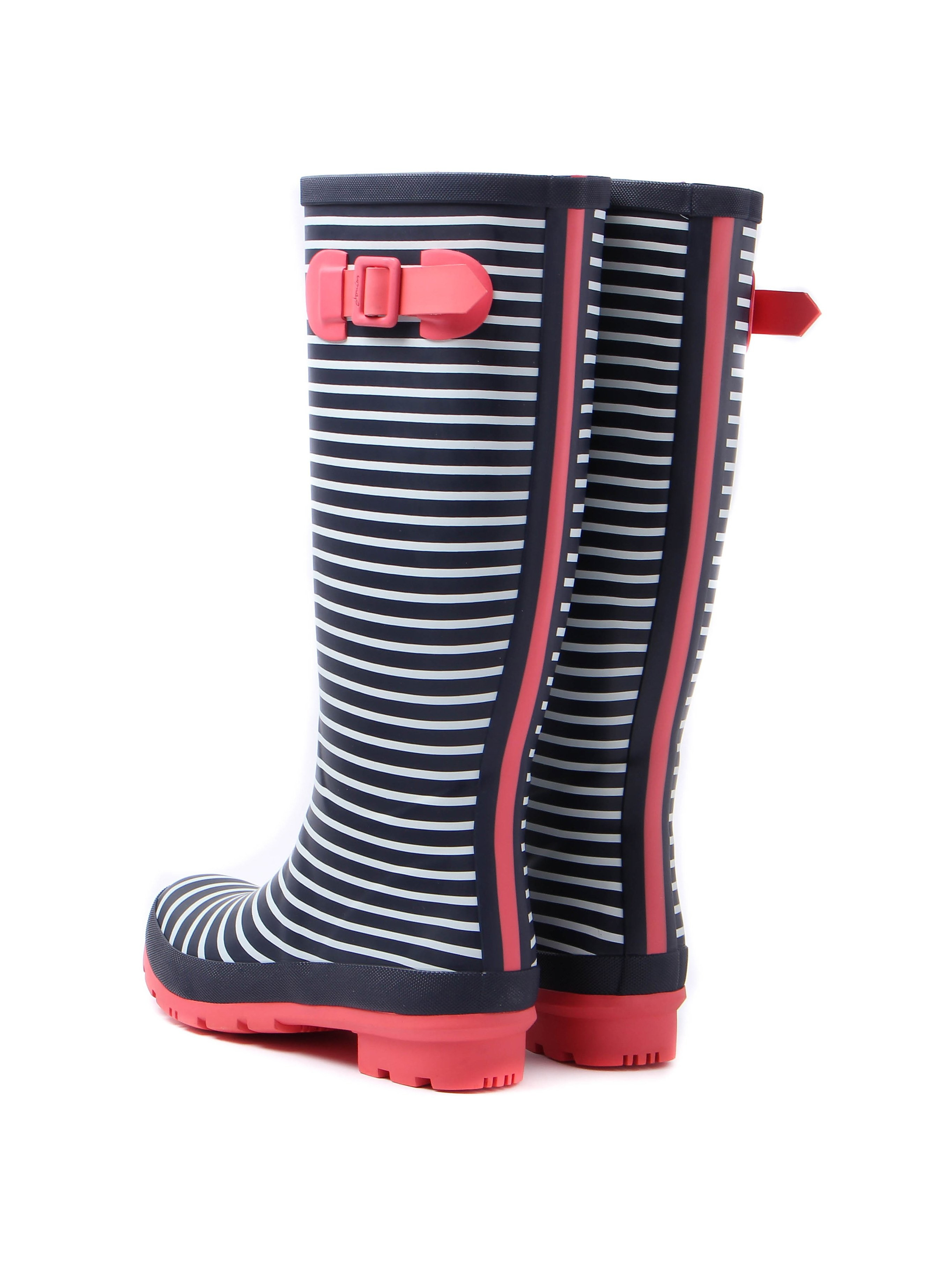 Joules Women's Wellyprint Mini Stripe Rubber Wellington Boots - Navy