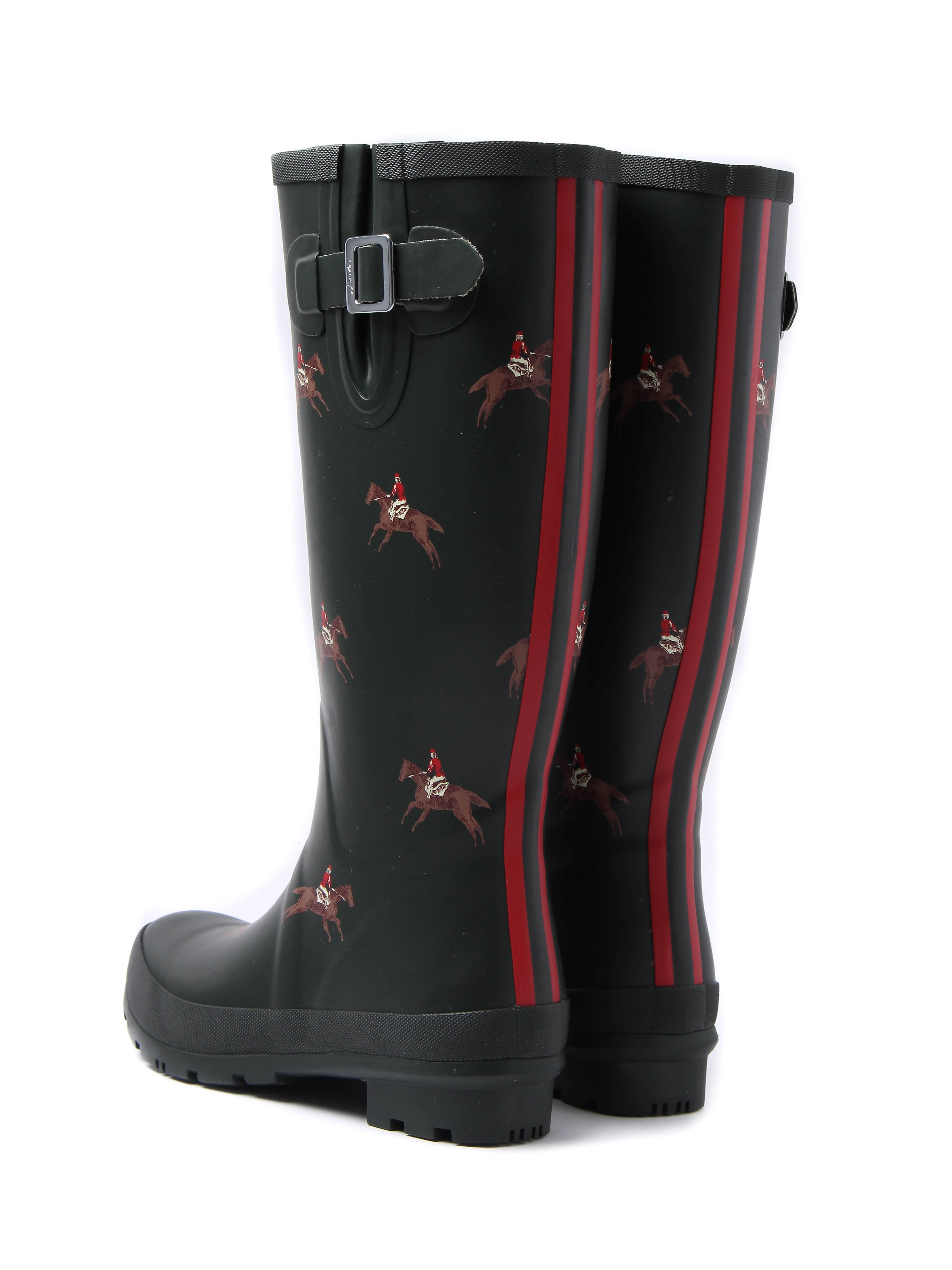 Joules Women's Wellyprint Horse Rider Rubber Wellington Boots - Olive