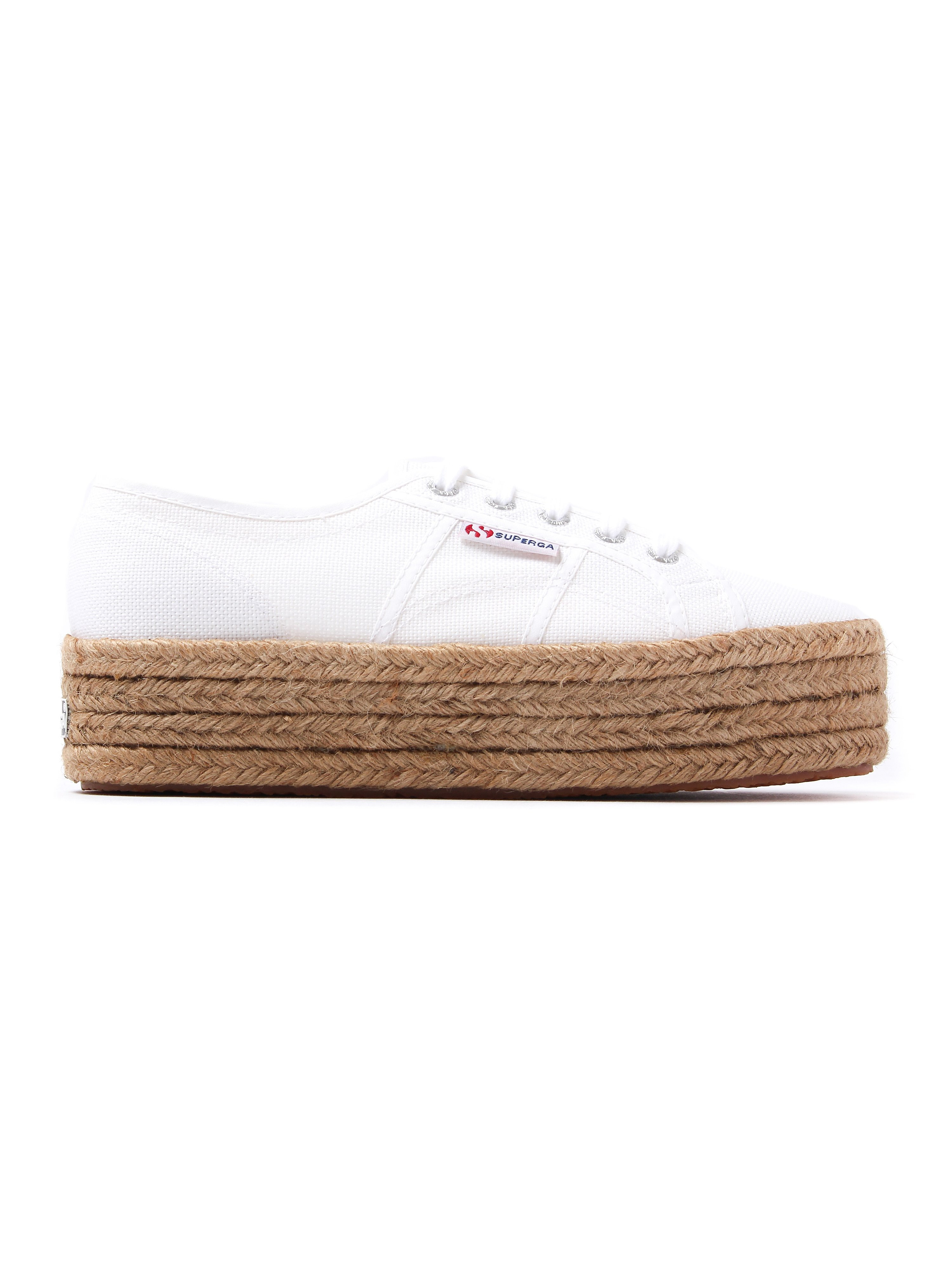 Superga Women's 2790 Cotrope Canvas & Rope Flatform Trainers - White
