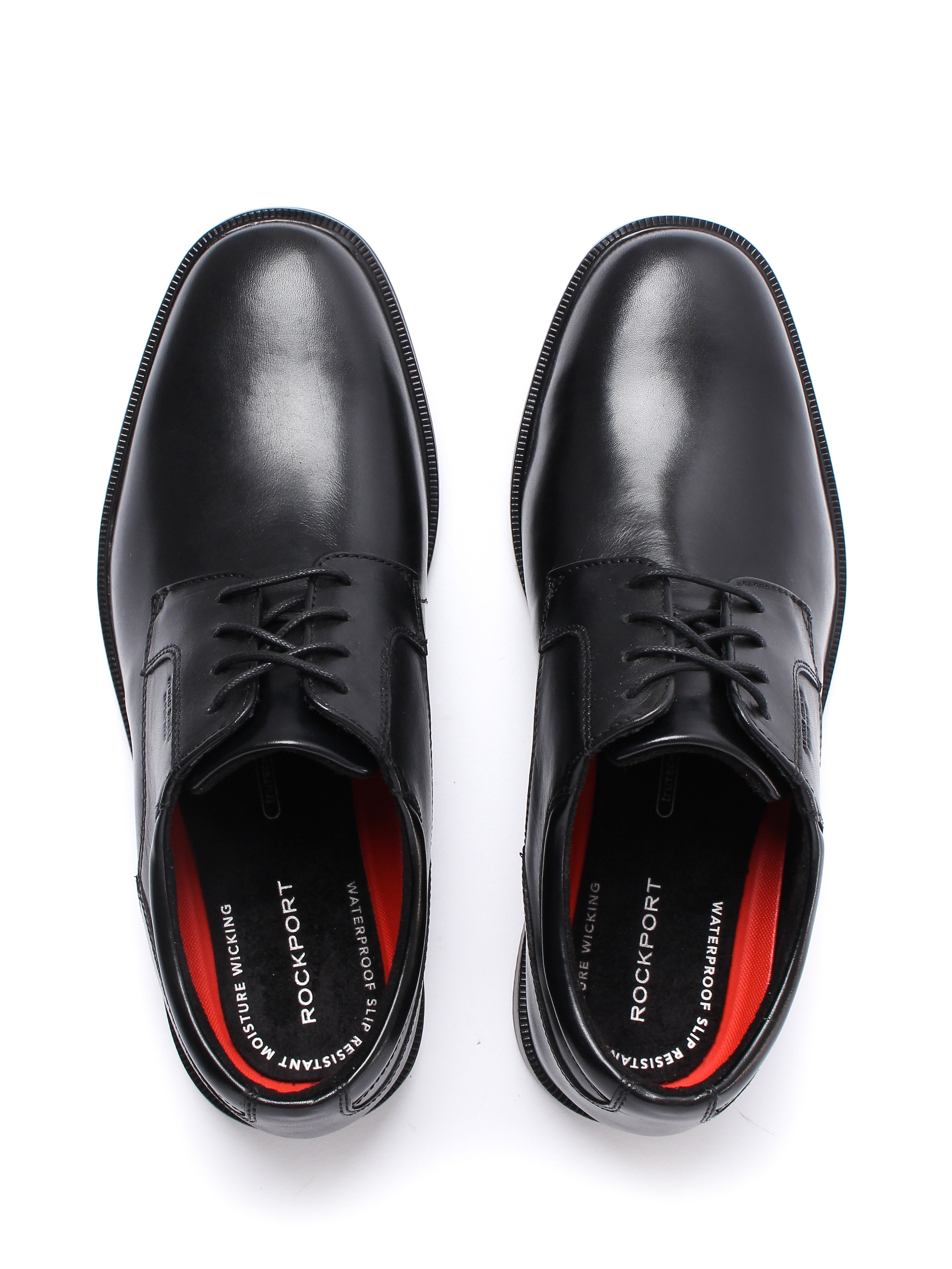 Rockport Mens Essential Detail II Plain Toe Leather Derby Shoes - Black