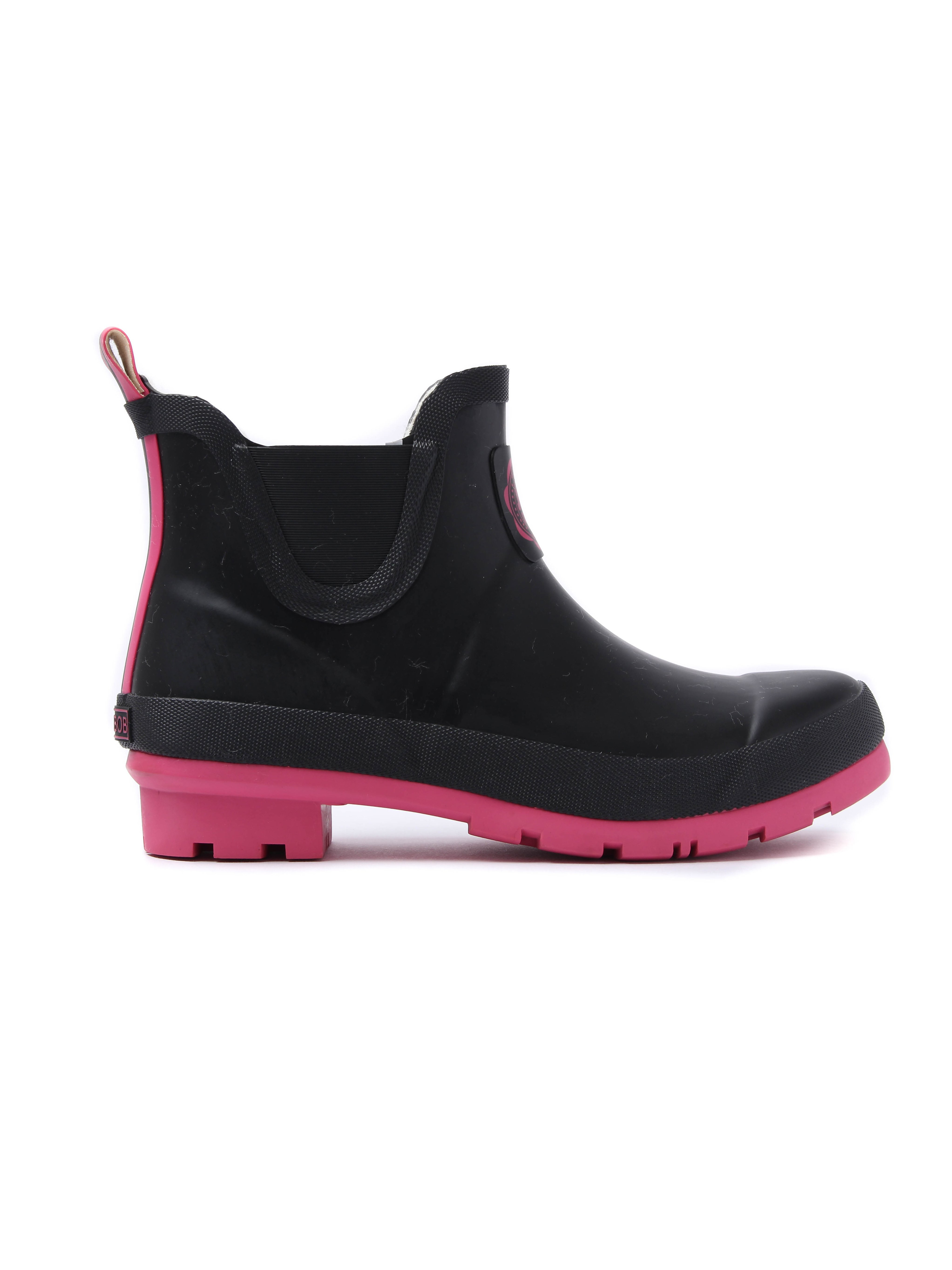 Joules Women's Wellibob Rubber Ankle Wellington Boots - Black & Cerise Pink