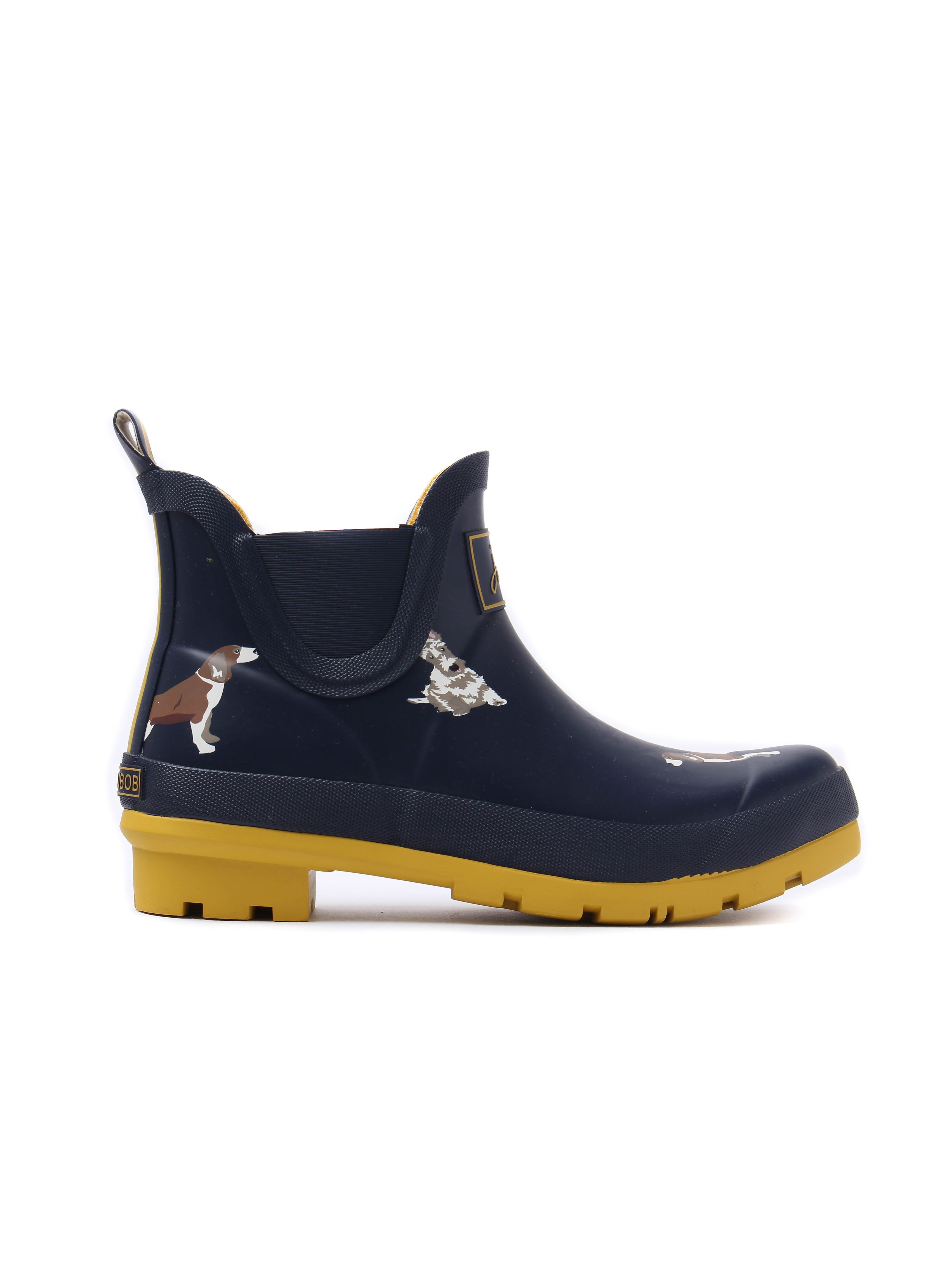Joules Women's Wellibob Fido Dog Rubber Ankle Wellington Boots - French Navy