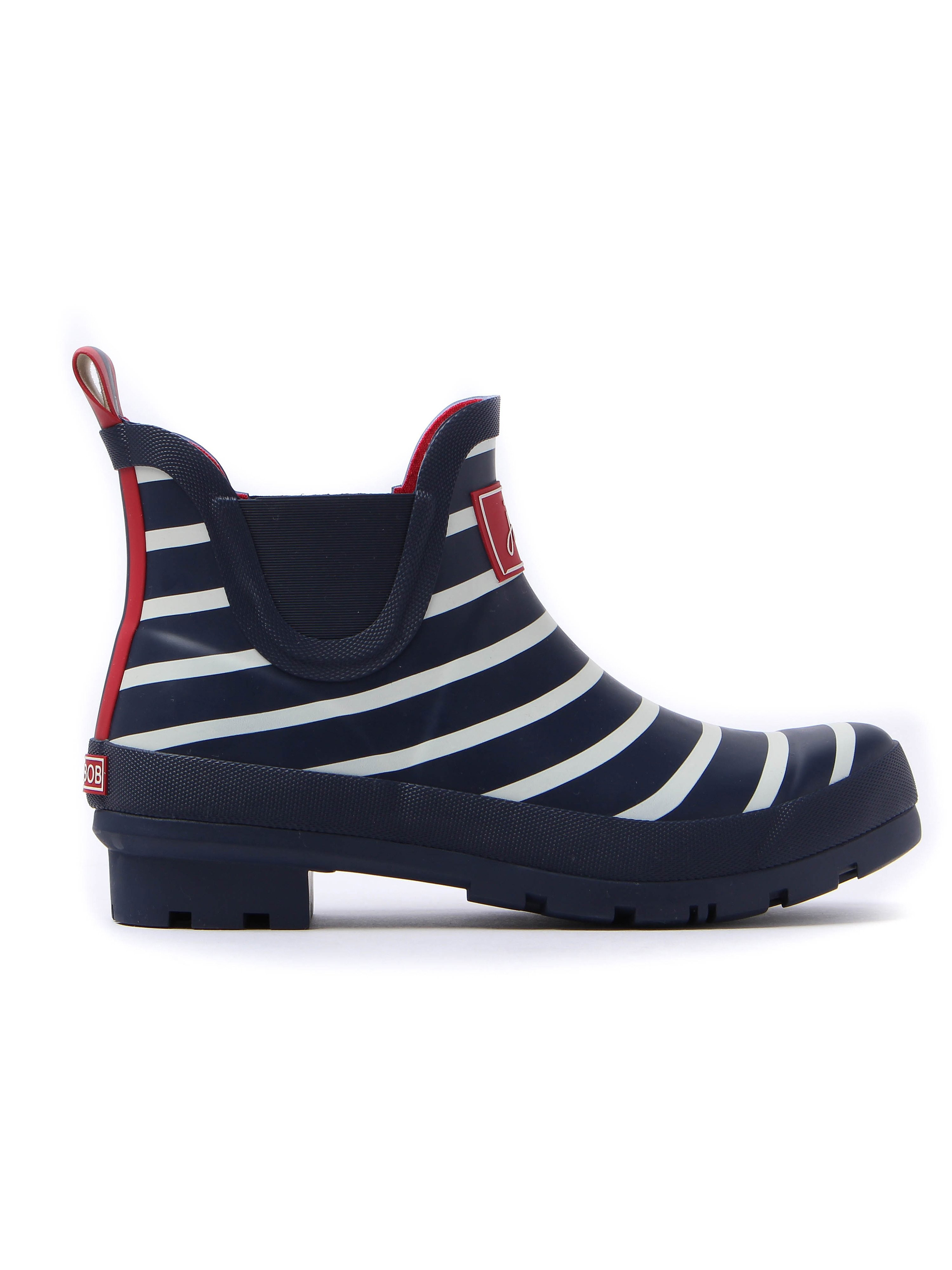 Joules Women's French Stripe Ankle Wellibob - Navy & White
