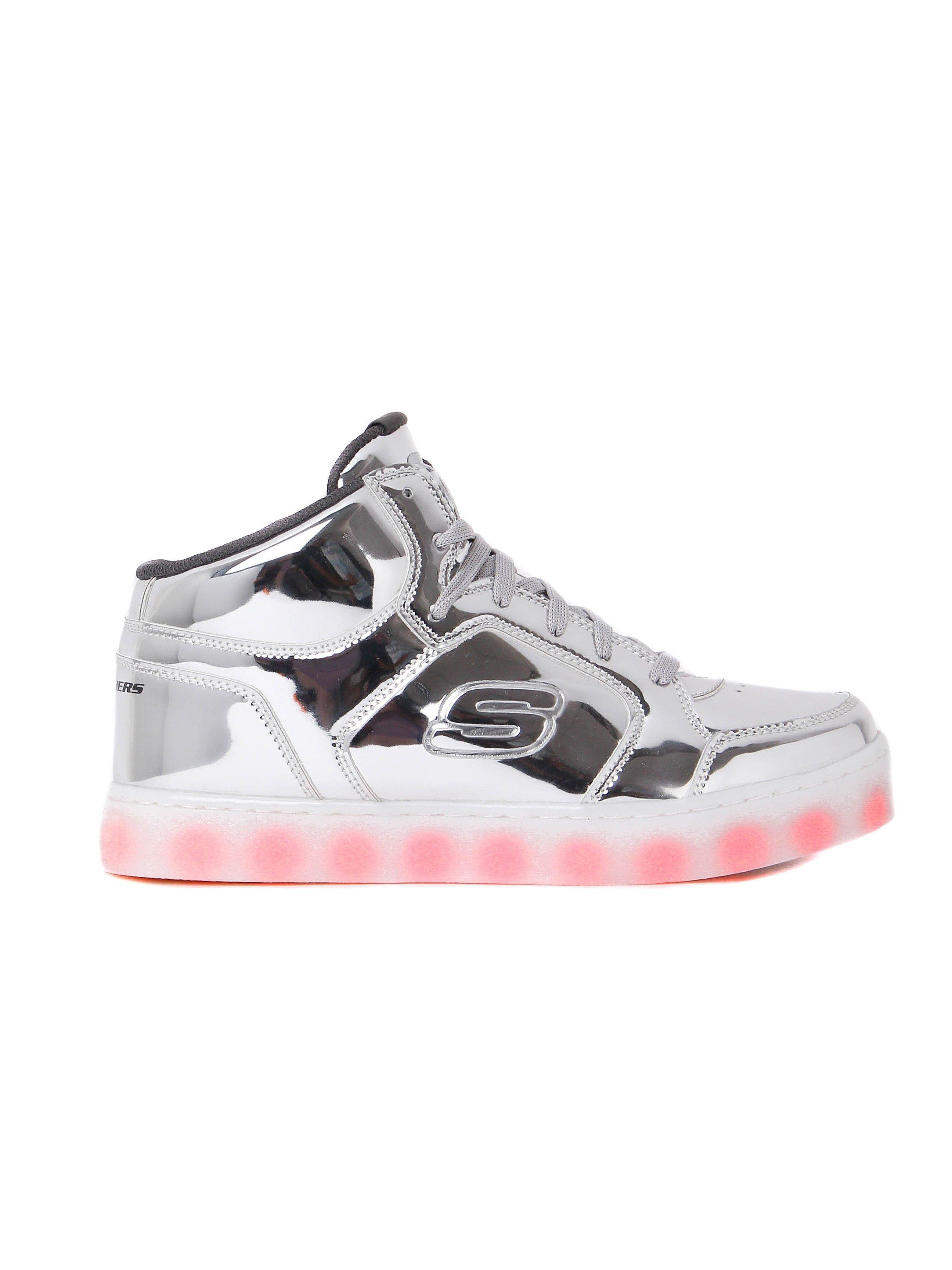 Skechers Kids Energy Lights Trainers - Silver Patent