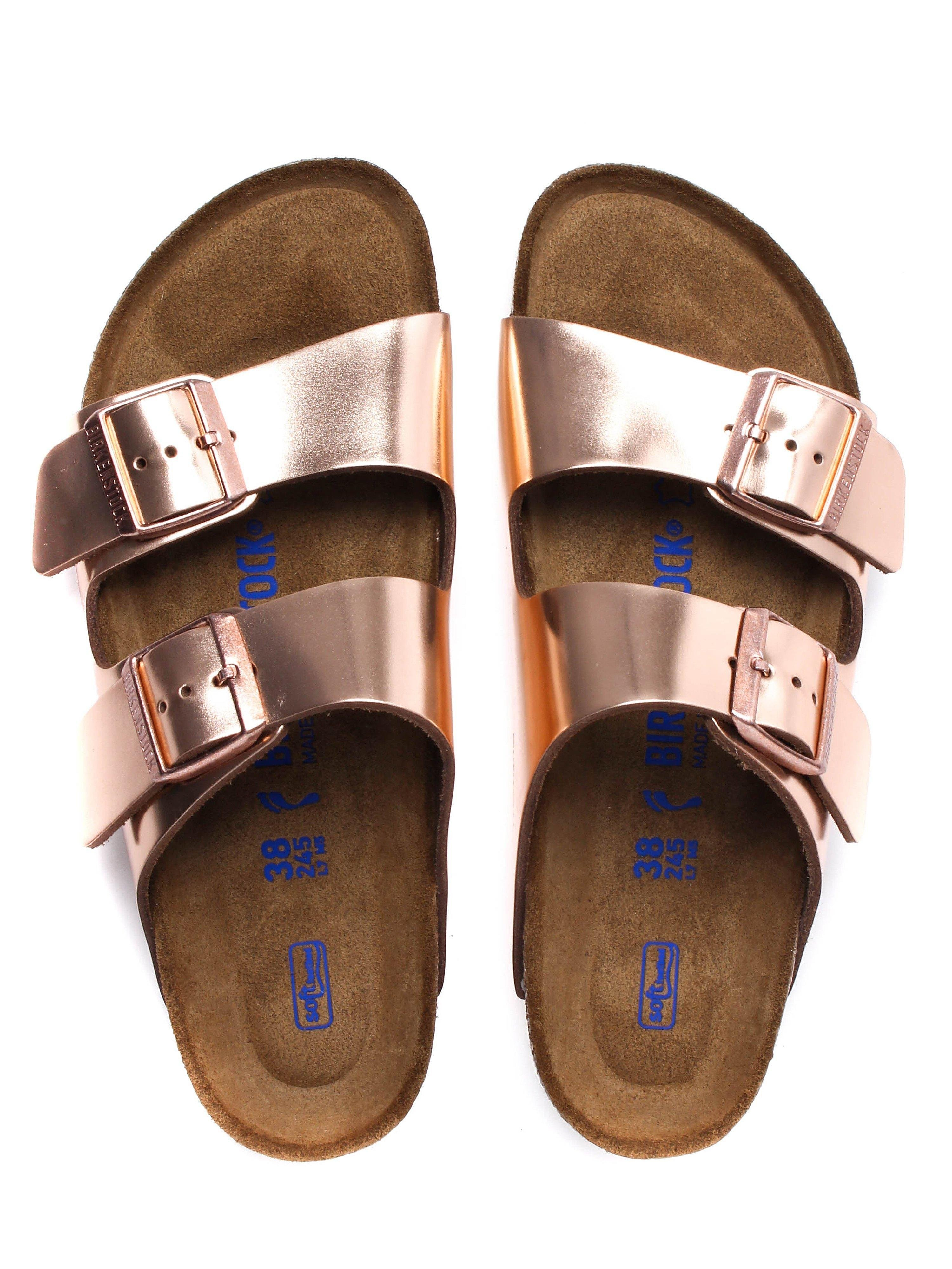 Birkenstock Women's Arizona Narrow Fit Sandals - Metallic Copper Leather