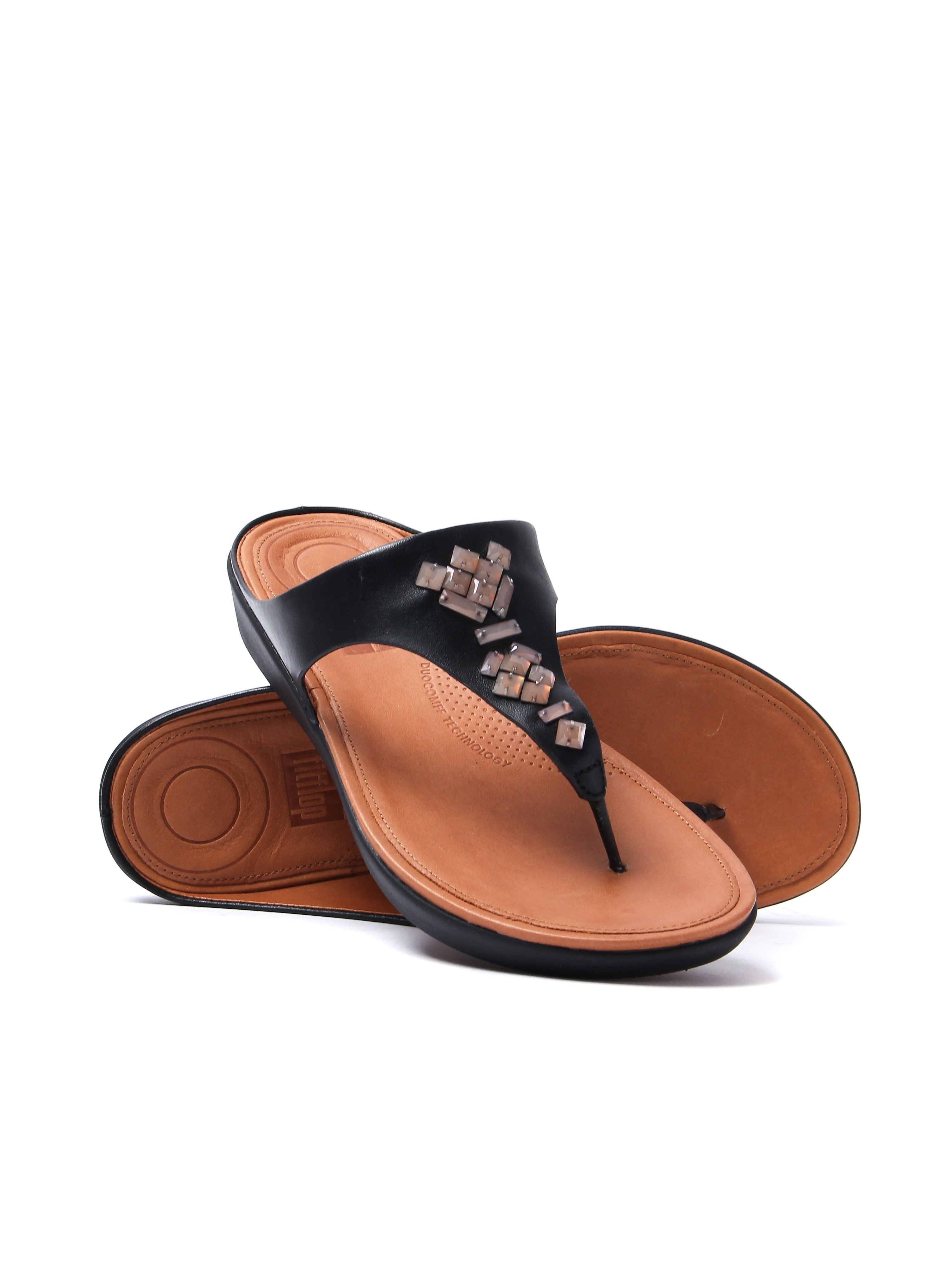 FitFlop Banda Crystal Leather Toe Thong Sandals - Black