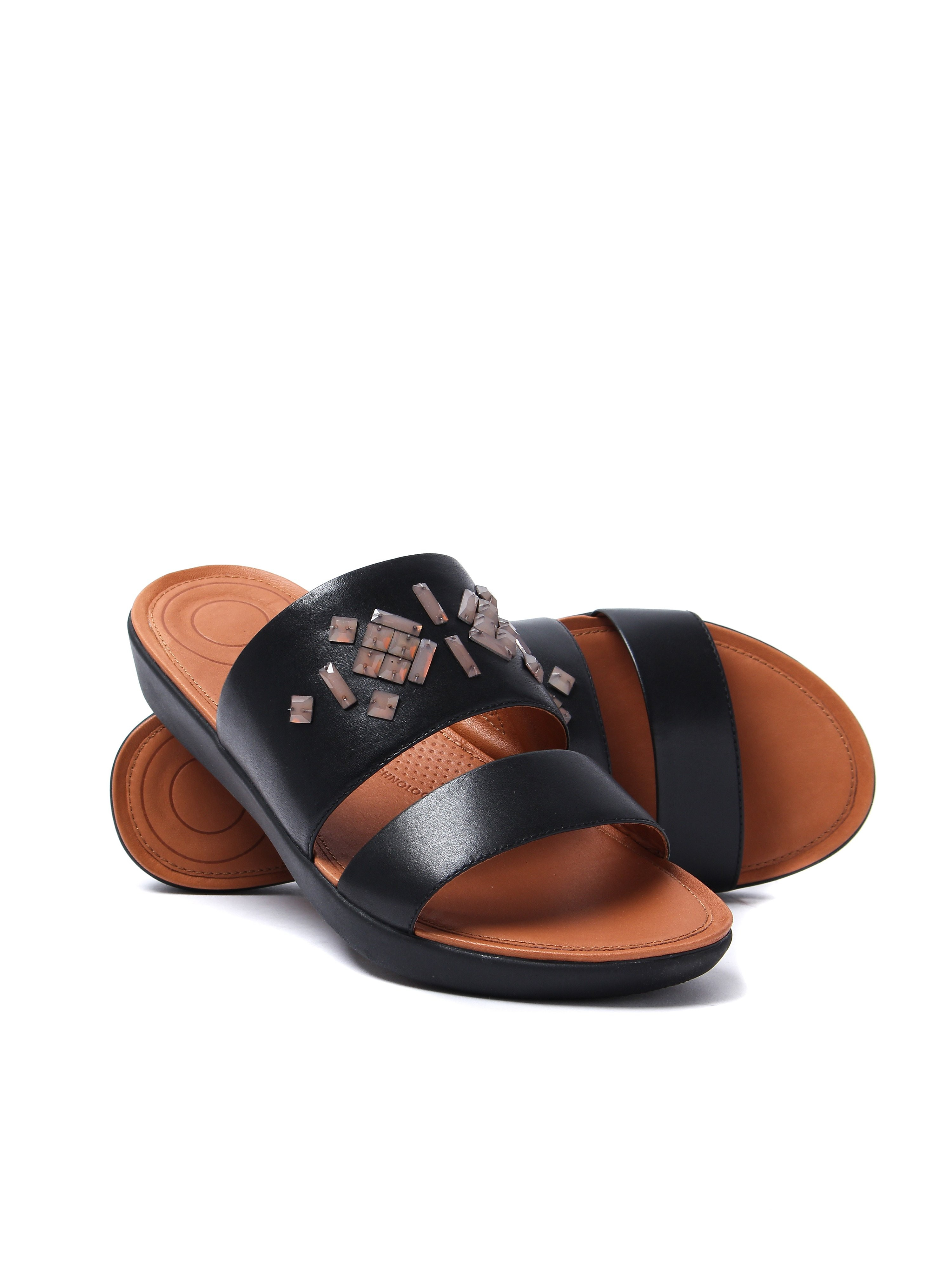 FitFlop Women's Delta Leather Crystal Slide Sandals - Black