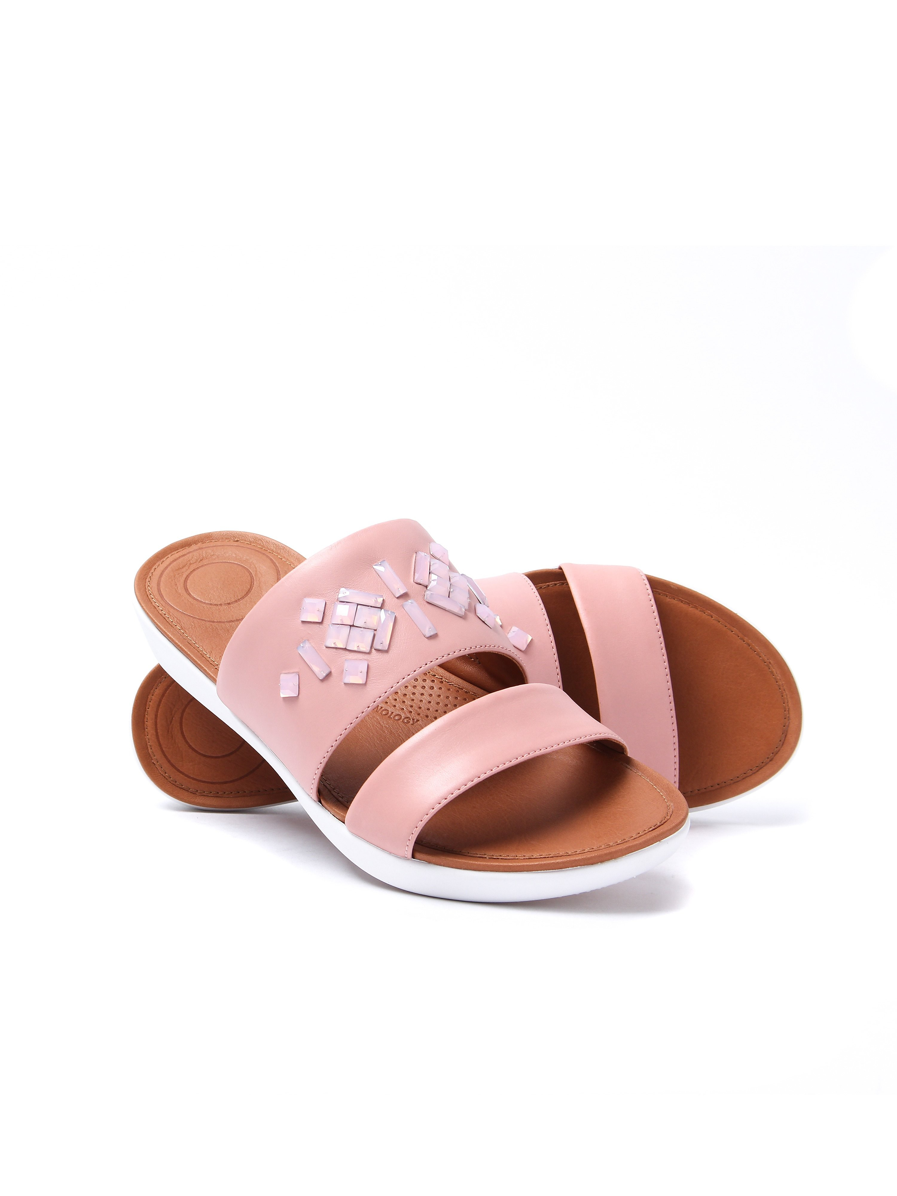 FitFlop Women's Delta Leather Crystal Slide Sandals - Dusky Pink