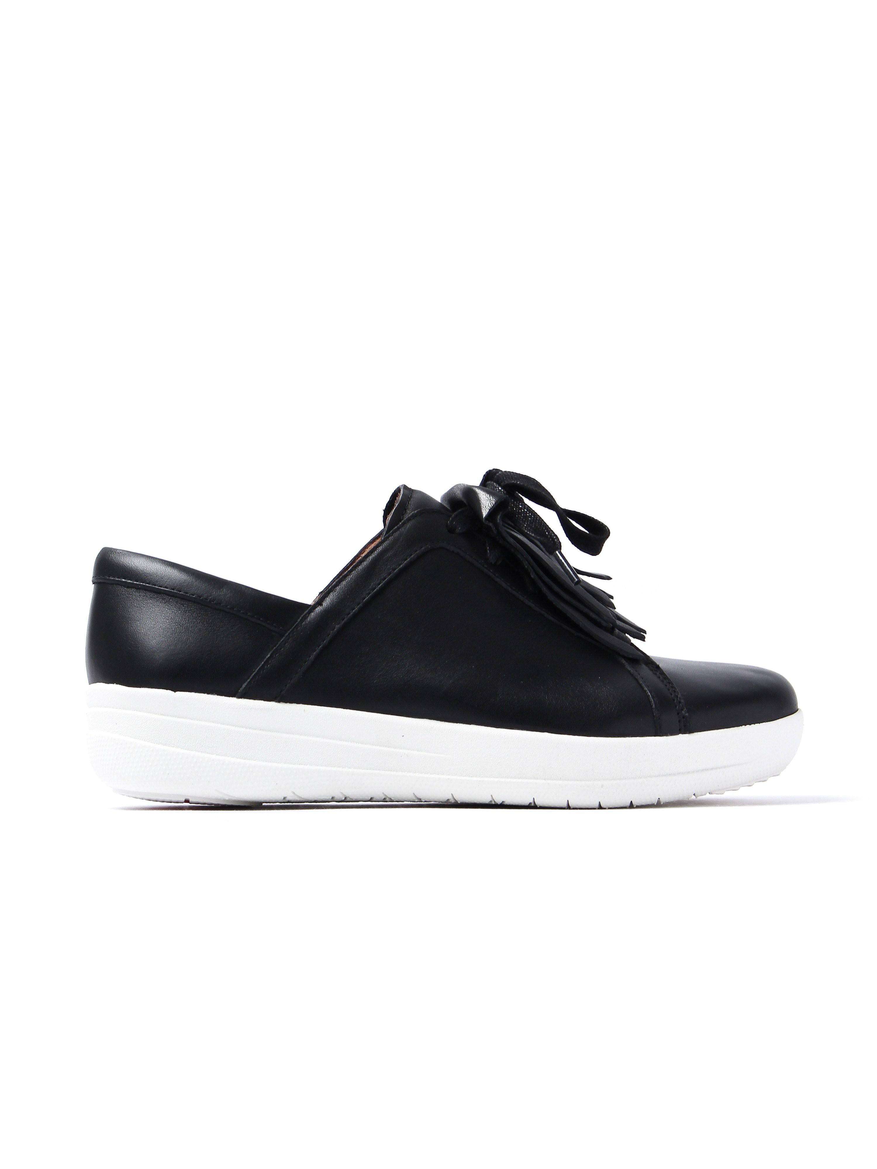 FitFlop Women's F-Sporty II Lace Up Fringe Sneaker - Black Leather