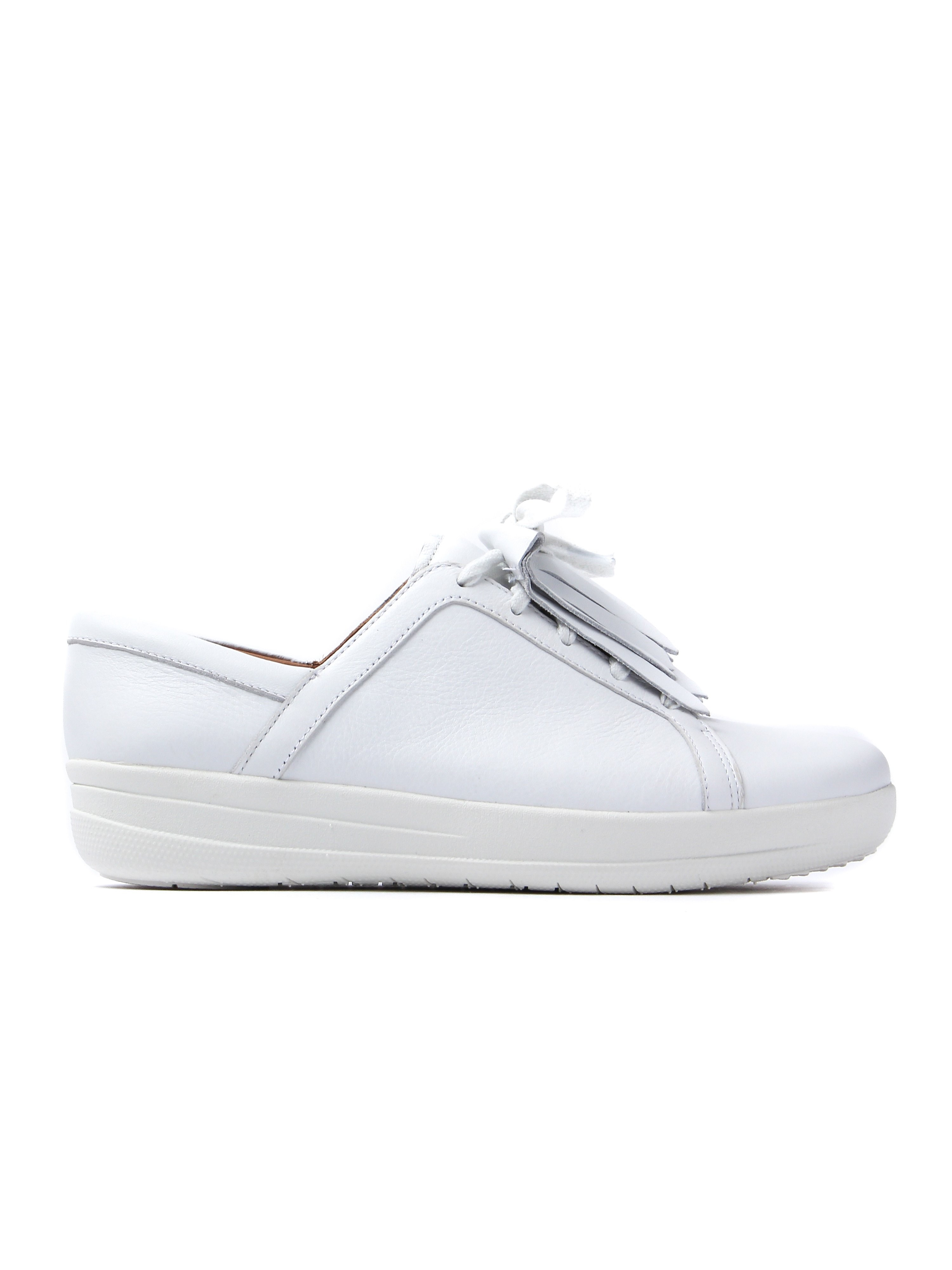 FitFlop Women's F-Sporty II Lace Up Fringe Sneaker - White Leather