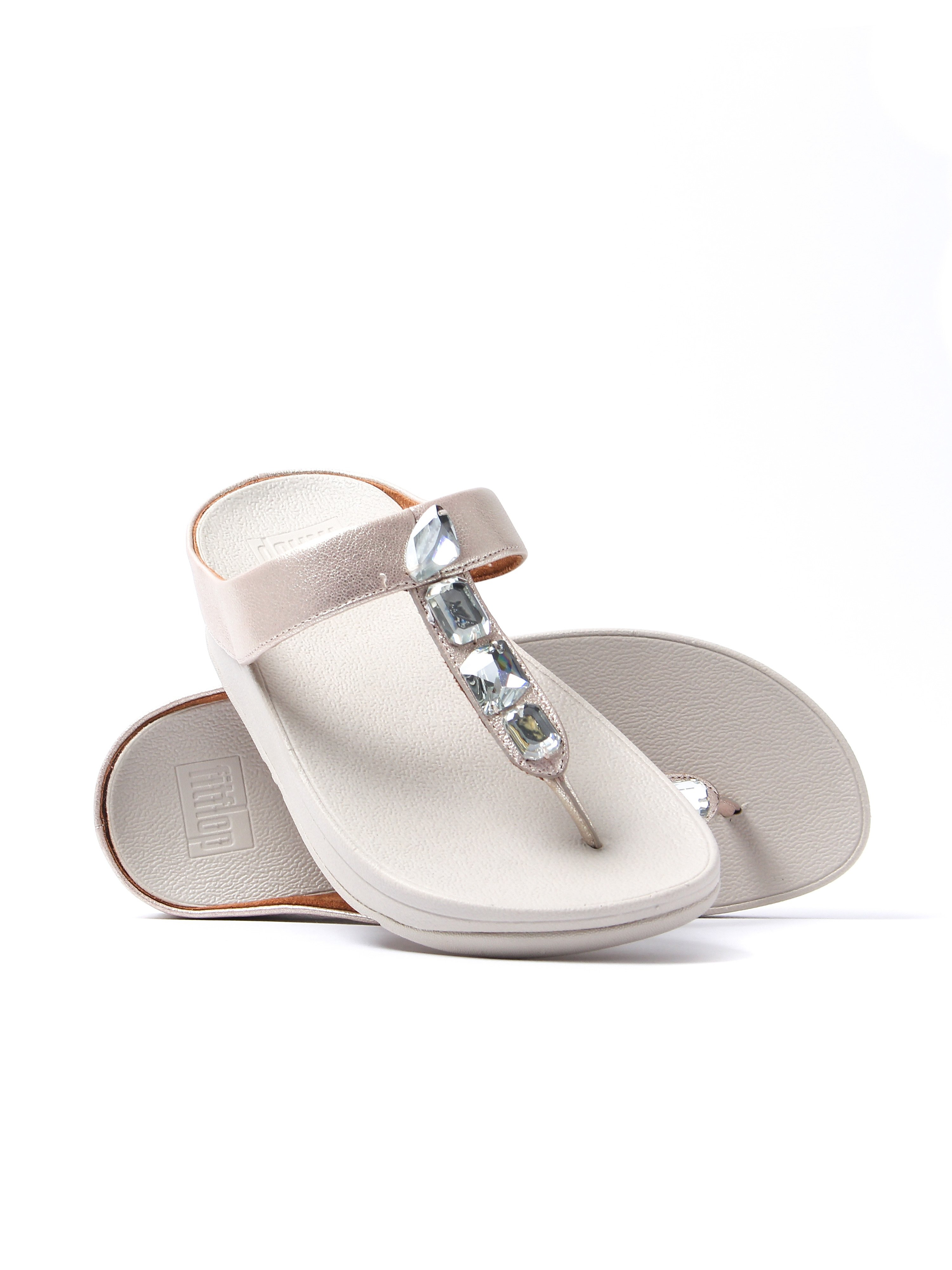 FitFlop Women's Roka Toe Thong Sandals - Silver Leather