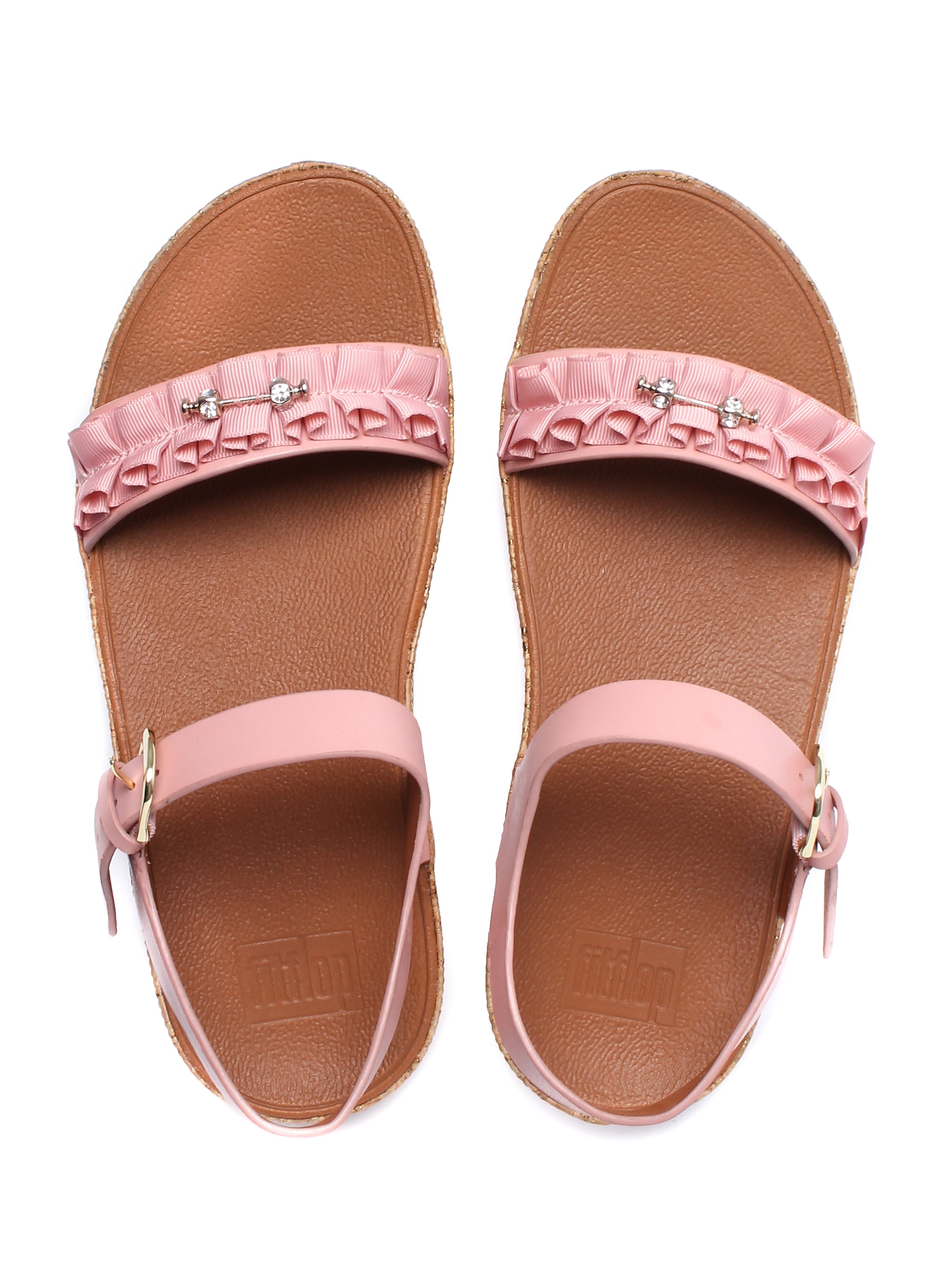 FitFlop Women's Ruffle Back-Strap Sandals - Dusky Pink