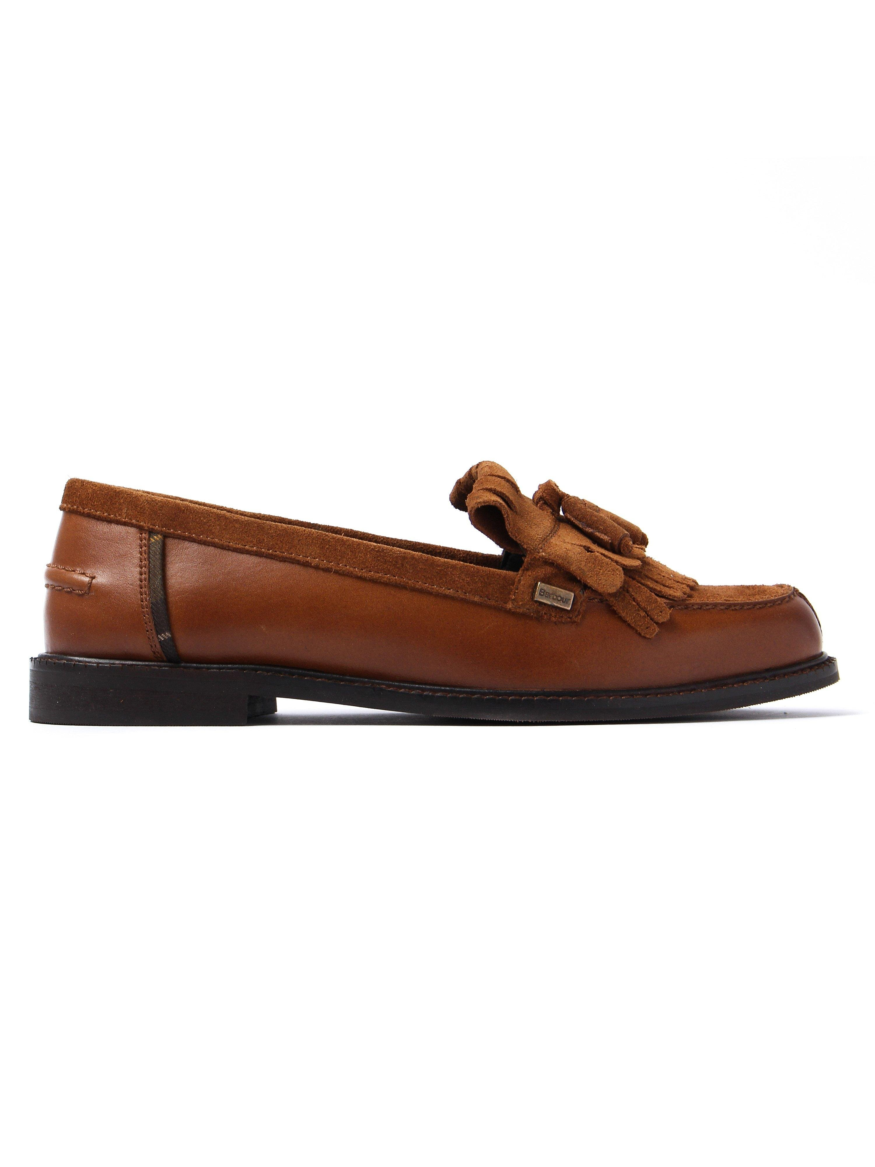 Barbour Women's Olivia Oiled Leather Tassel Loafers - Tan