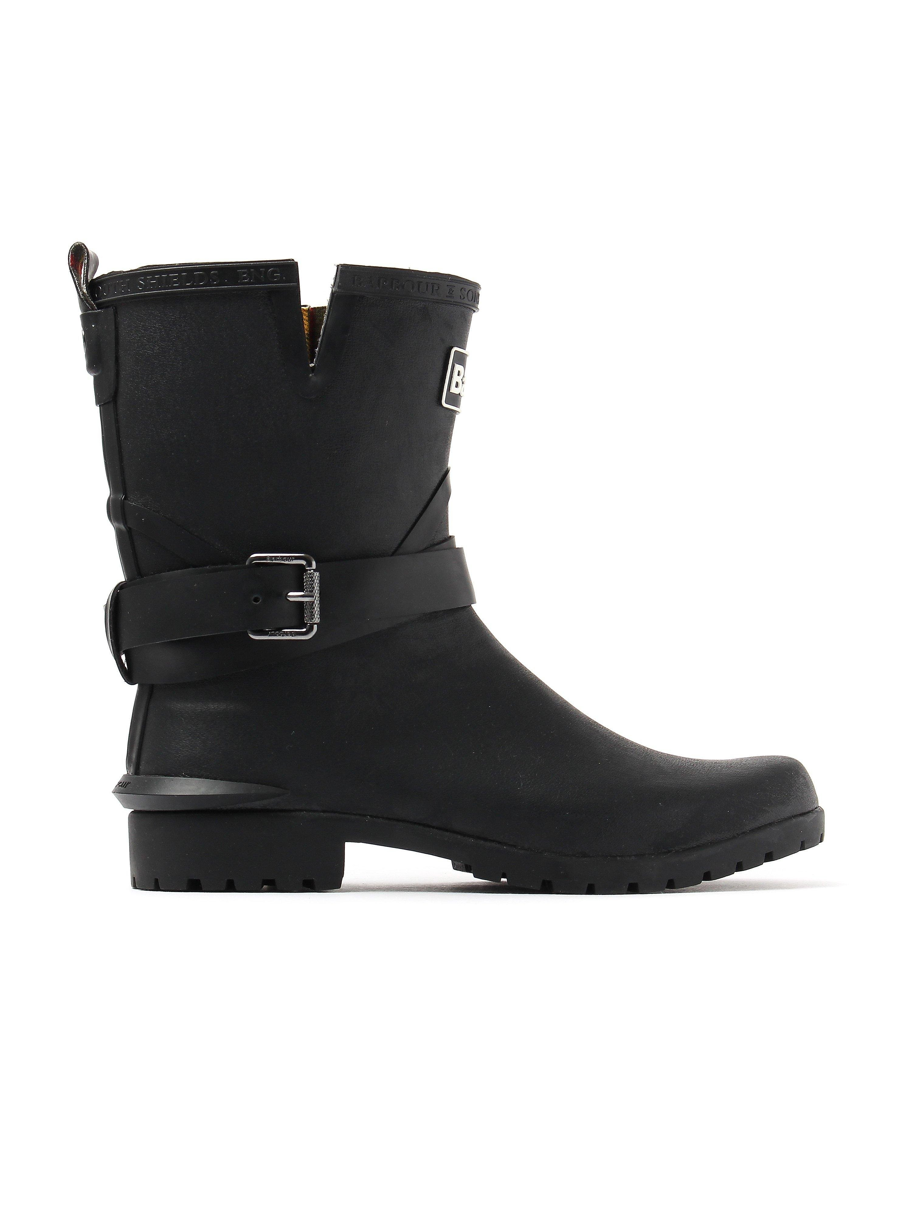 Barbour Women's Biker Buckle Rubber Wellington Boots - Black